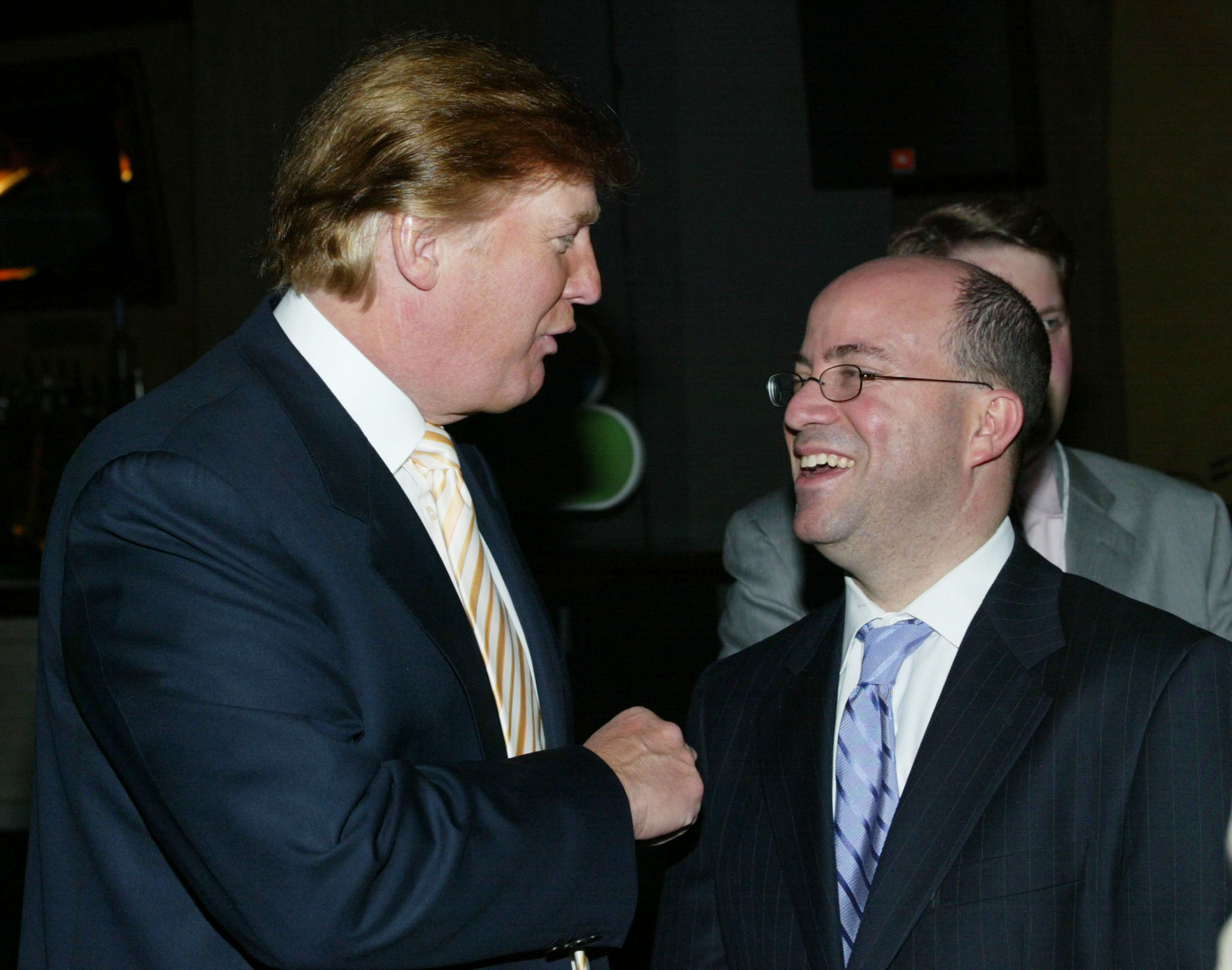 HOLLYWOOD.- JANUARY 14: (L to R) Donald Trump and Jeff Zucker, president, NBC Entertainment, News and Cable attend the 2004 NBC Winter Press Tour All-Star Party at the Highlands on January 14, 2004 in Hollywood, California. (Photo by Frederick M. Brown/Getty Images).