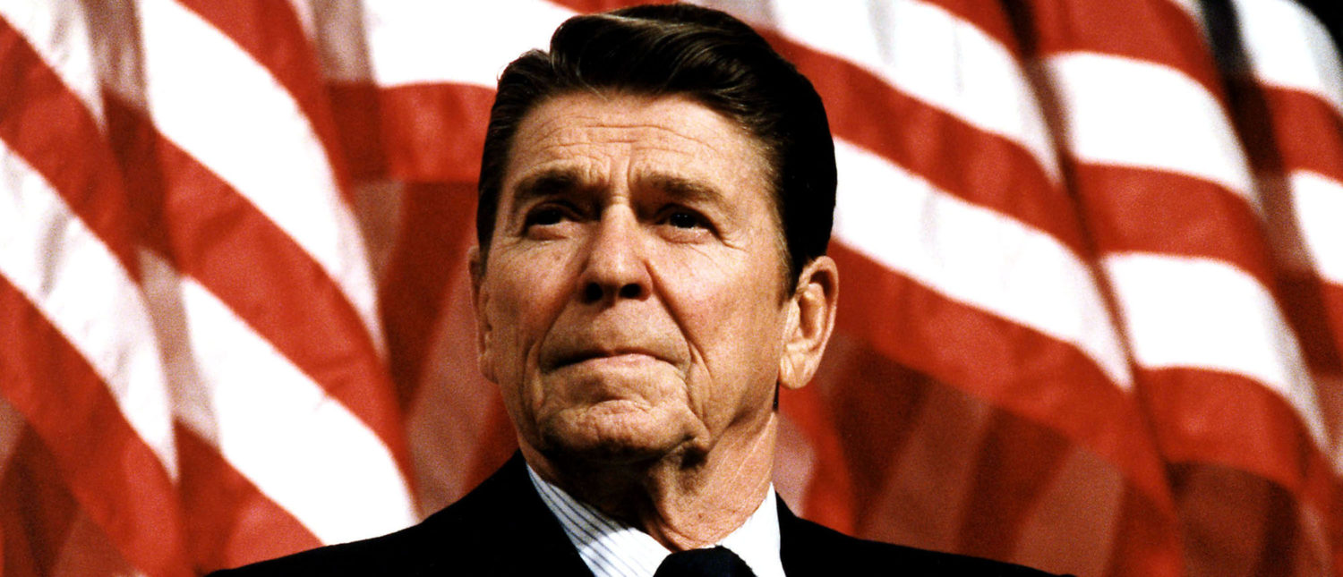 UNDATED: (FILE PHOTO) Former U.S. President Ronald Reagan speaks at a rally for Senator Durenberger February 8, 1982. Reagan turns 93 on February 6, 2004.(Photo by Michael Evans/The White House/Getty Images)