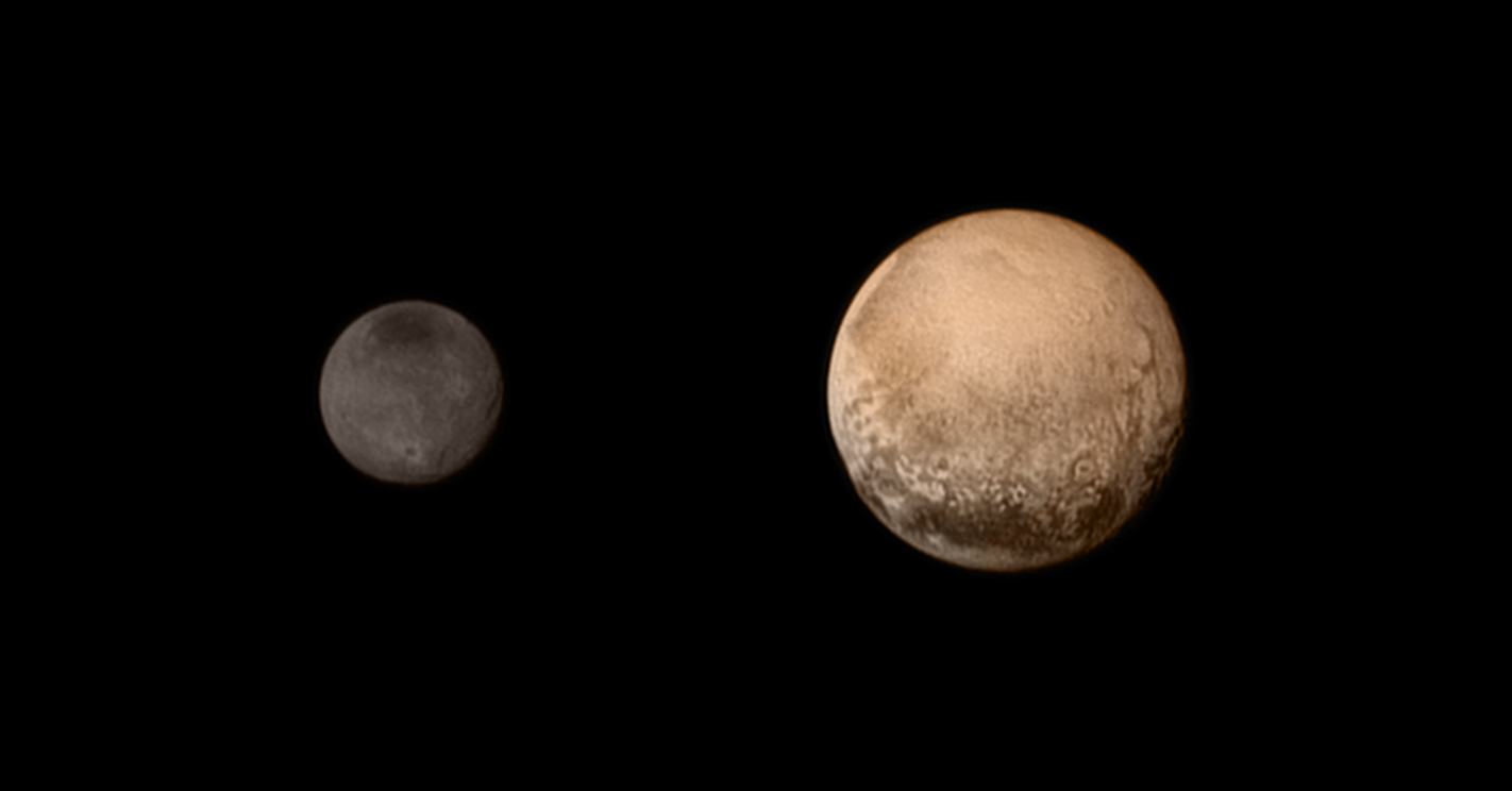 IN SPACE - JULY 11: In this handout provided by the National Aeronautics and Space Administration (NASA), the dwarf planet Pluto (R) and Charon are shown July 11, 2015. NASA's New Horizons spacecraft is nearing its July 14 flyby when it will close to a distance of about 7,800 miles (12,500 kilometers). The 1,050-pound piano sized probe, which was launched January 19, 2006 aboard an Atlas V rocket from Cape Canaveral, Florida, is traveling 30,800 mph as it approaches. (Photo by NASA/JHUAPL/SWRI via Getty Images)