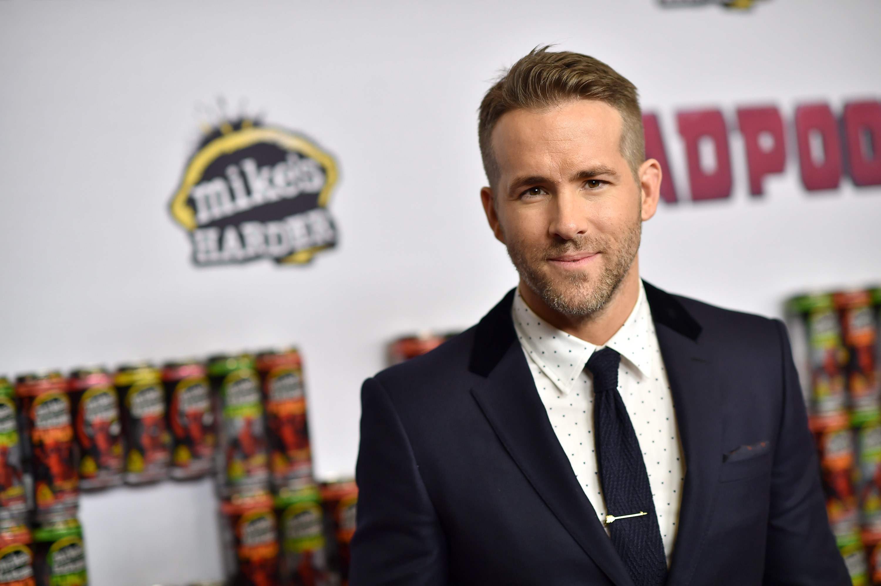 "NEW YORK, NY - FEBRUARY 08: Actor Ryan Reynolds attends the ""Deadpool"" fan event at AMC Empire Theatre on February 8, 2016 in New York City. (Photo by Dimitrios Kambouris/Getty Images)"