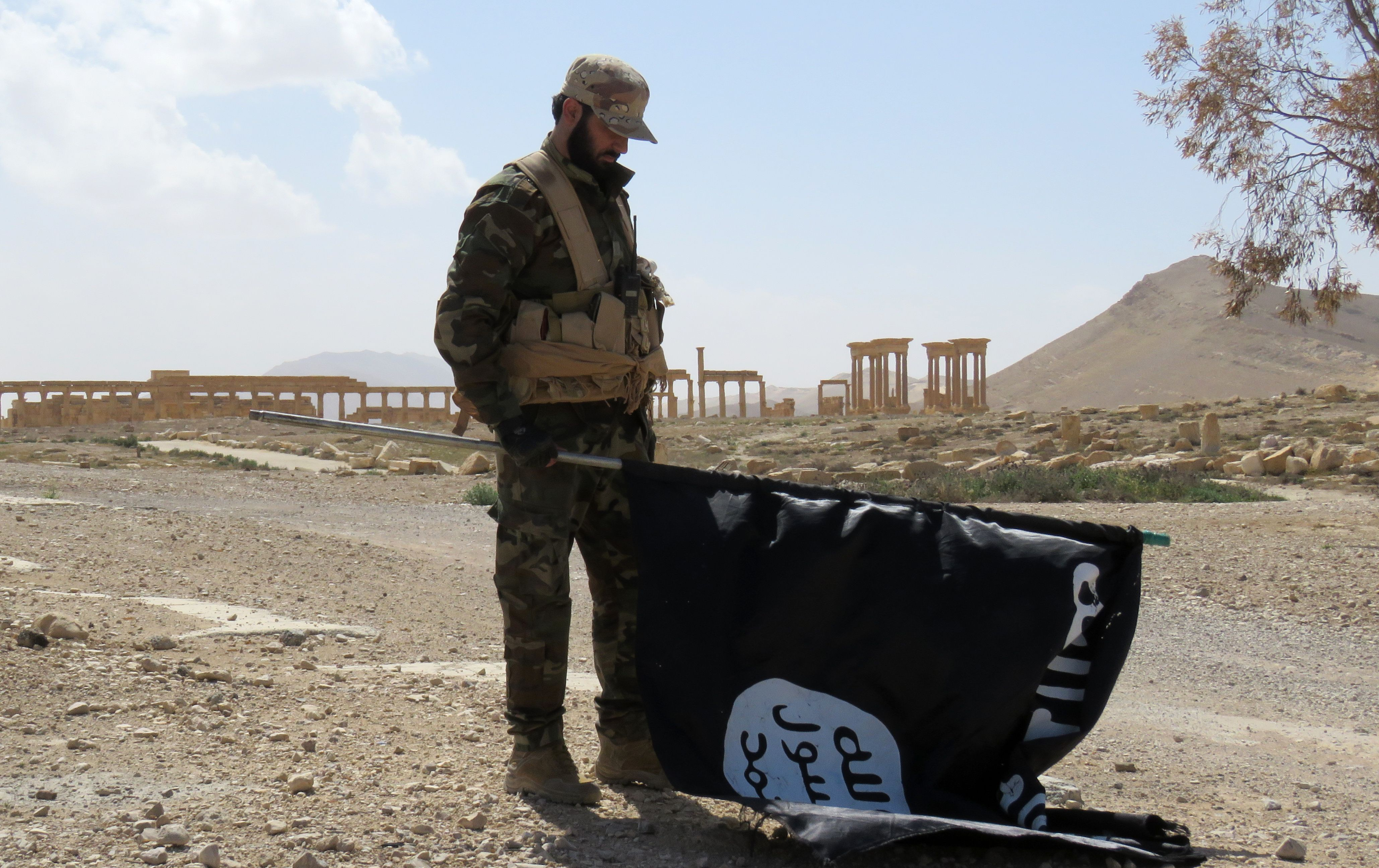 A member of the Syrian pro-government forces carries an Islamic State (IS) group flag as he stands on a street in the ancient city of Palmyra on March 27, 2016, after troops recaptured the city from IS jihadists.