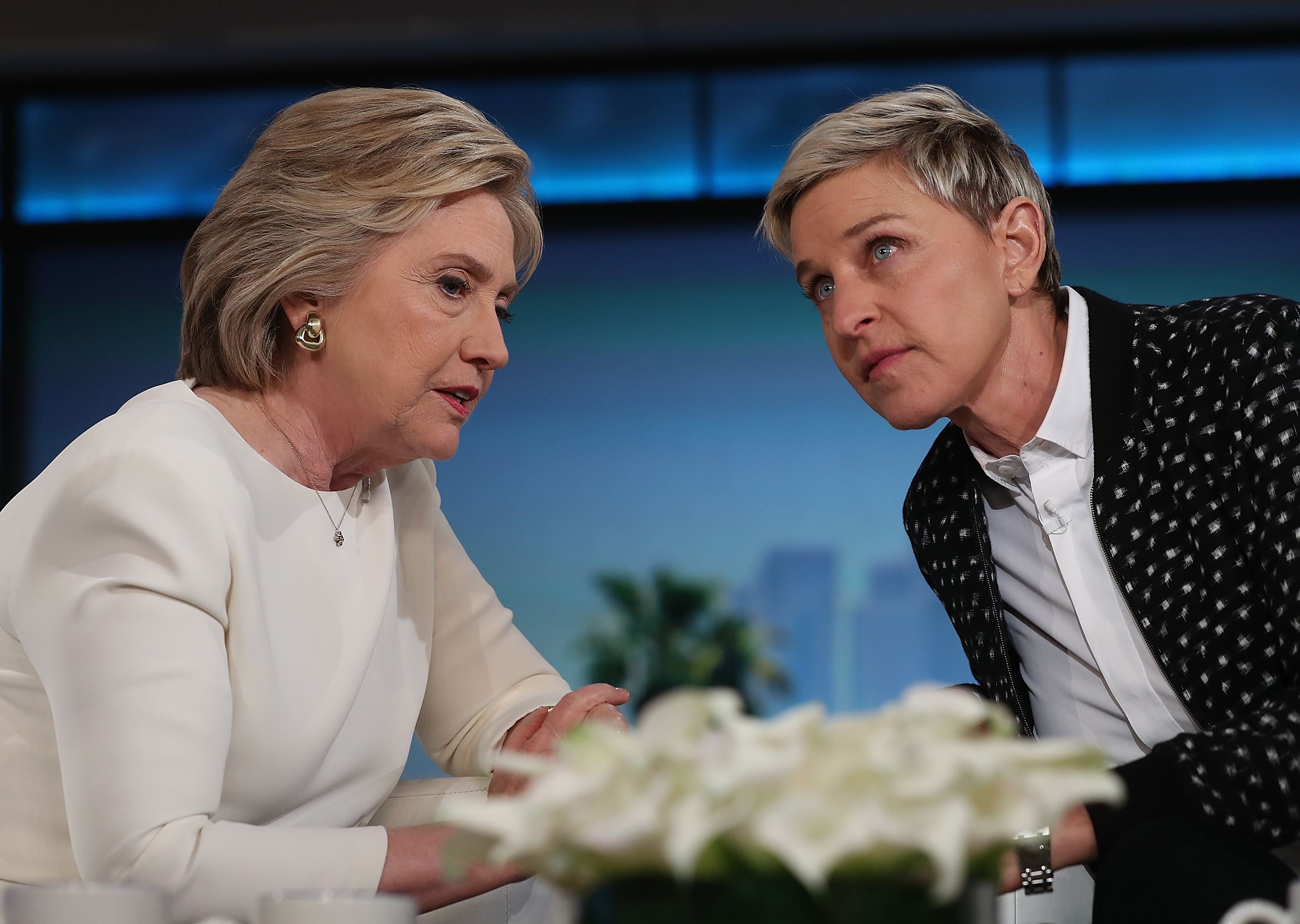 BURBANK, CA - MAY 24: Democratic presidential candidate former Secretary of State Hillary Clinton (L) talks with Ellen DeGeneres during a taping of The Ellen DeGeneres Show on May 24, 2016 in Burbank, California. Hillary Clinton is campaigning in California ahaed of the State's presidential primary on June 7th. (Photo by Justin Sullivan/Getty Images)