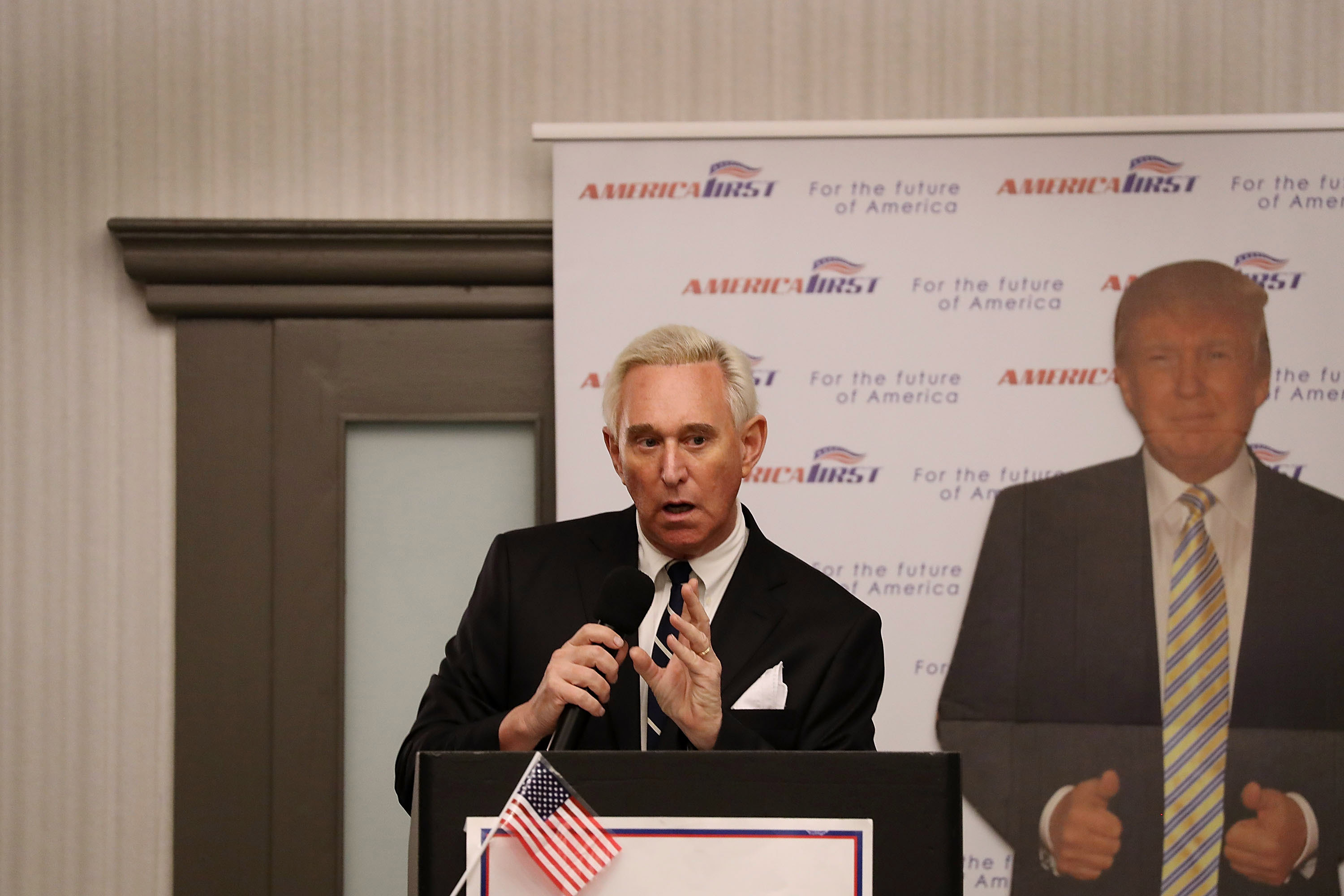 "BOCA RATON, FL - MARCH 21: Roger Stone, a longtime political adviser and friend to President Donald Trump, speaks before signing copies of his book ""The Making of the President 2016"" at the Boca Raton Marriott on March 21, 2017 in Boca Raton, Florida. The book delves into the 2016 presidential run by Donald Trump. (Photo by Joe Raedle/Getty Images)"
