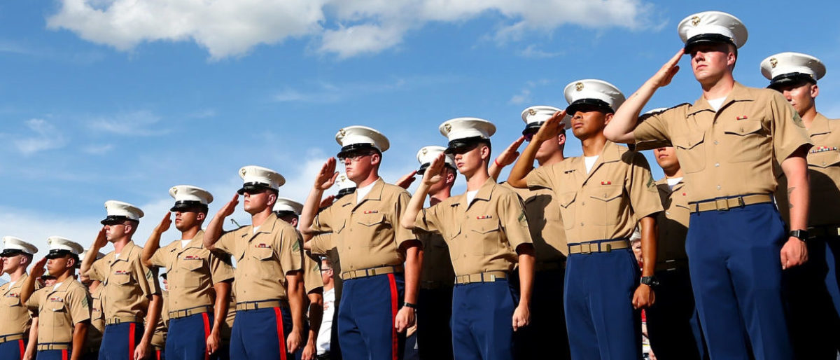 CHARLOTTE, NC - MAY 28: Members of the Marine Corp stand at attention prior to the start of the Monster Energy NASCAR Cup Series Coca-Cola 600 at Charlotte Motor Speedway on May 28, 2017 in Charlotte, North Carolina. (Photo by Sarah Crabill/Getty Images)