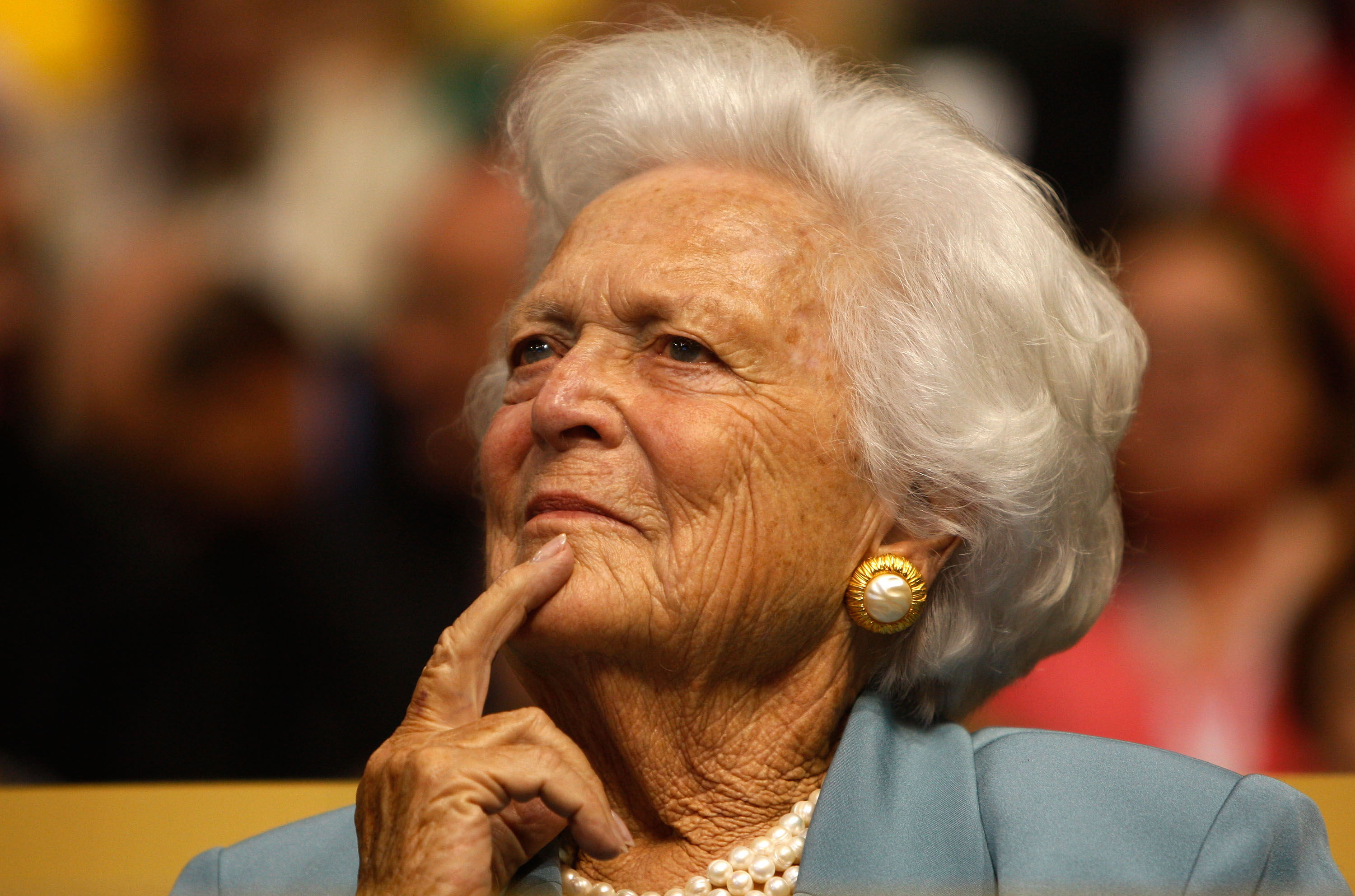 Former first lady Barbara Bush attends day two of the Republican National Convention (RNC) at the Xcel Energy Center on September 2, 2008 in St. Paul, Minnesota. (Photo by Scott Olson/Getty Images)