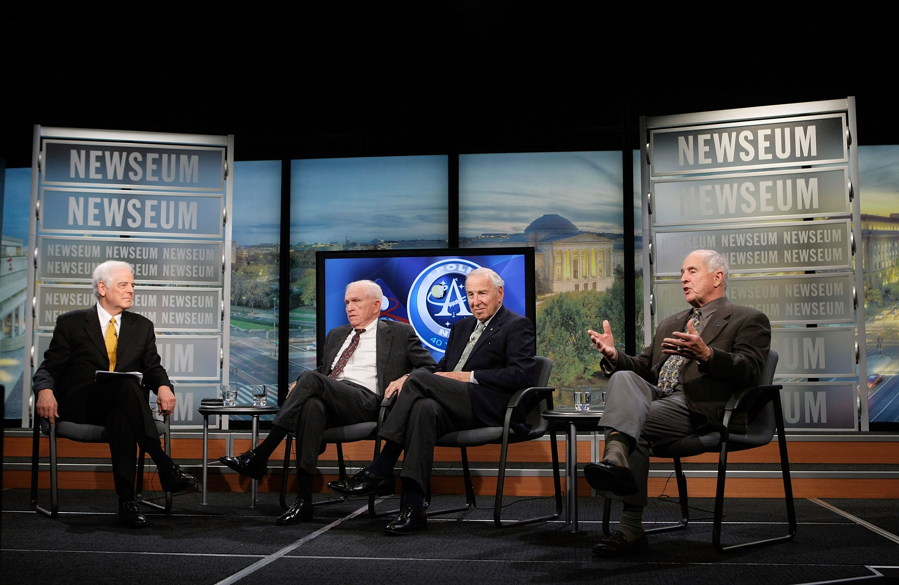 WASHINGTON - NOVEMBER 13: (2nd L  R) Apollo 8 Crew Members Frank Borman, James Lovell, and William Anders chat with Journalist in Residence at the Newseum Nick Clooney (L) during a live taping of a NASA TV program at the Newseum November 13, 2008 in Washington, DC. The former astronauts participated in a discussion on the December 1968 lunar orbital mission and how the success of Apollo 8 contributed to the overall moon landing effort that culminated just six months later with Apollo 11 and to commemorate NASA's 50th anniversary. (Photo by Alex Wong/Getty Images)