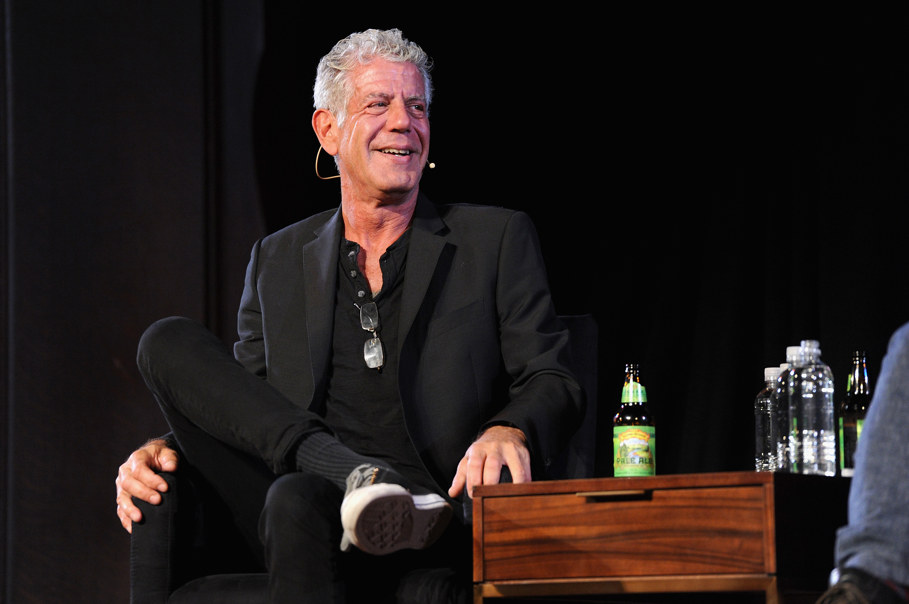 Chef Anthony Bourdain speaks onstage during the panel Anthony Bourdain talks with Patrick Radden Keefe at New York Society for Ethical Culture on October 7, 2017 in New York City. (Photo by Craig Barritt/Getty Images for The New Yorker)