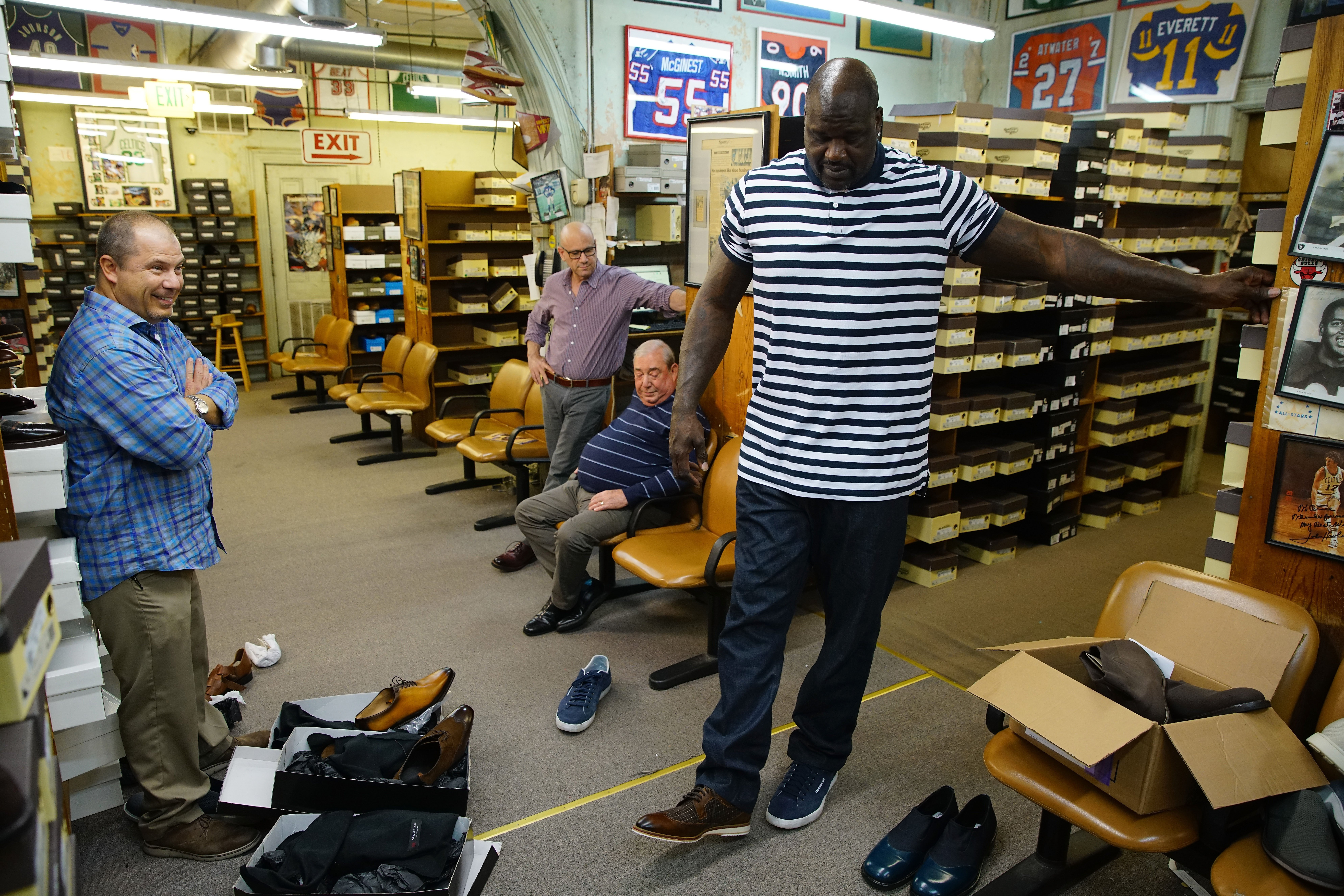 Shaquille O'Neal tries on shoes at Friedman?s Shoes in Atlanta during a recent video shoot for Small Business Saturday on October 24, 2017 in Atlanta, Georgia. (Photo by Daniel Shirey/Getty Images for American Express)