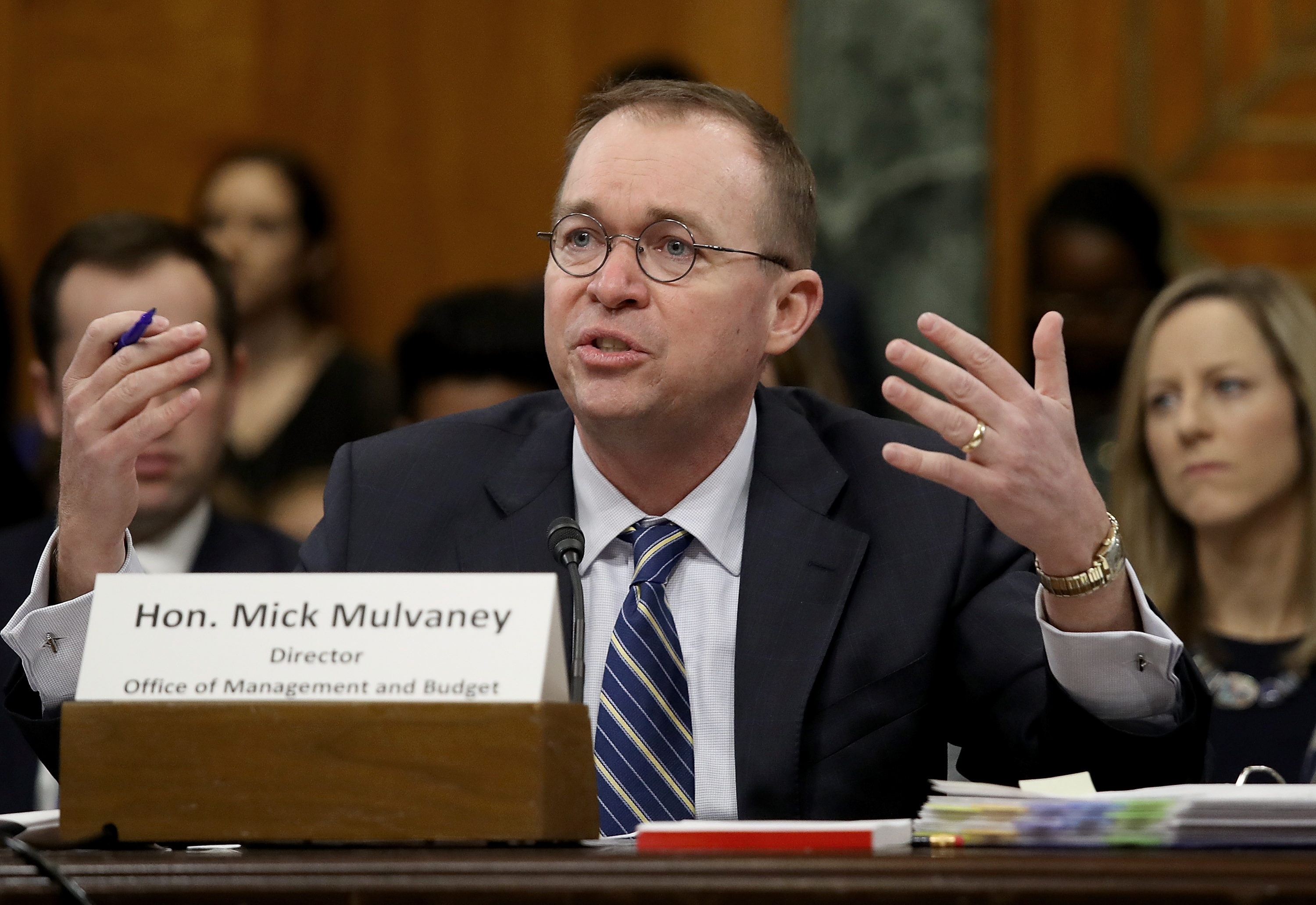 Office of Management and Budget Director Mick Mulvaney testifies before the Senate Budget Committee February 13, 2018 in Washington, DC. (Photo by Win McNamee/Getty Images)