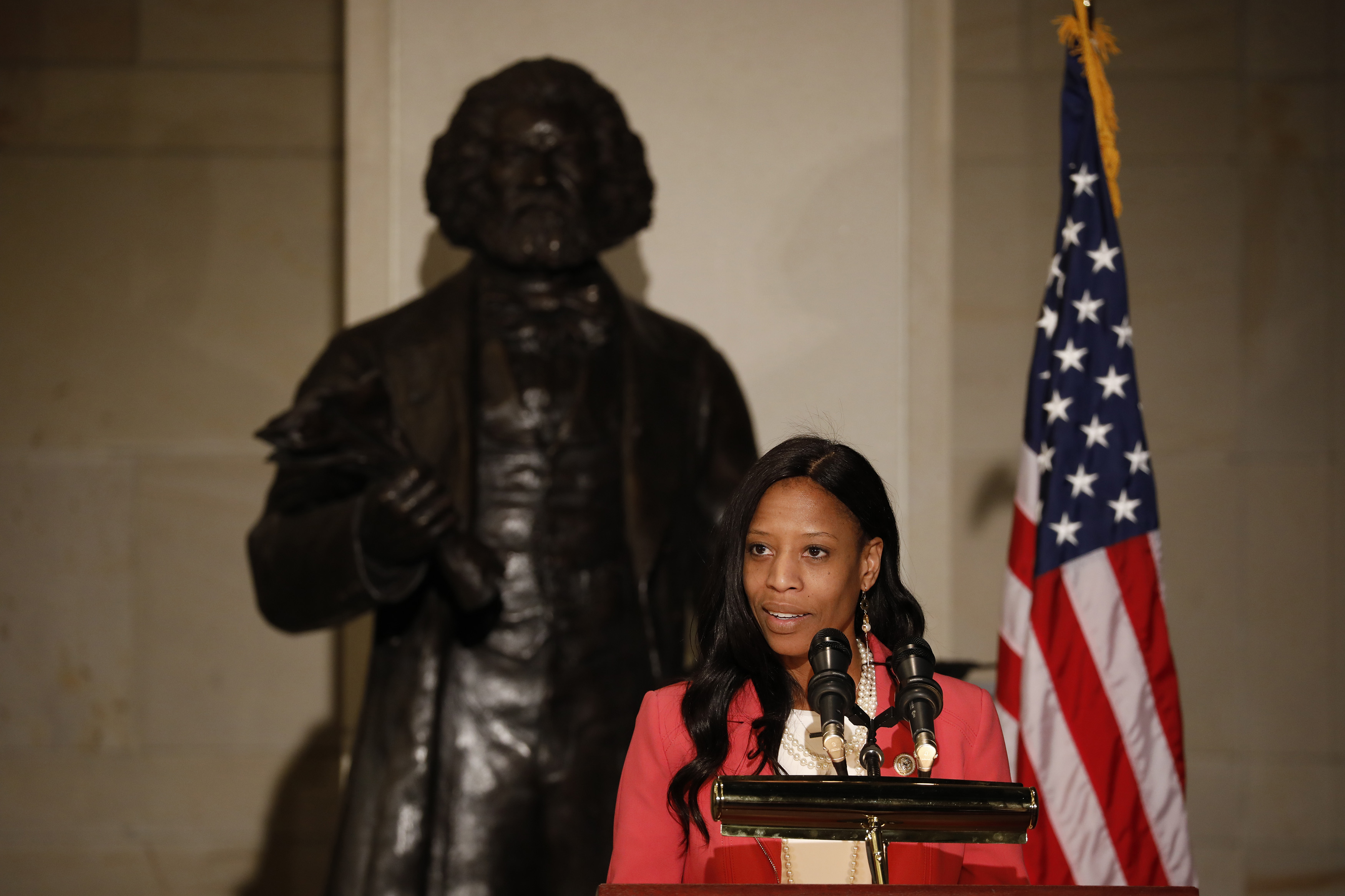 Rep. Mia Love (R-UT) speaks at an event honoring the bicentennial of Frederick Douglass' birth on Capitol Hill on February 14, 2018 in Washington, DC. (Photo by Aaron P. Bernstein/Getty Images)