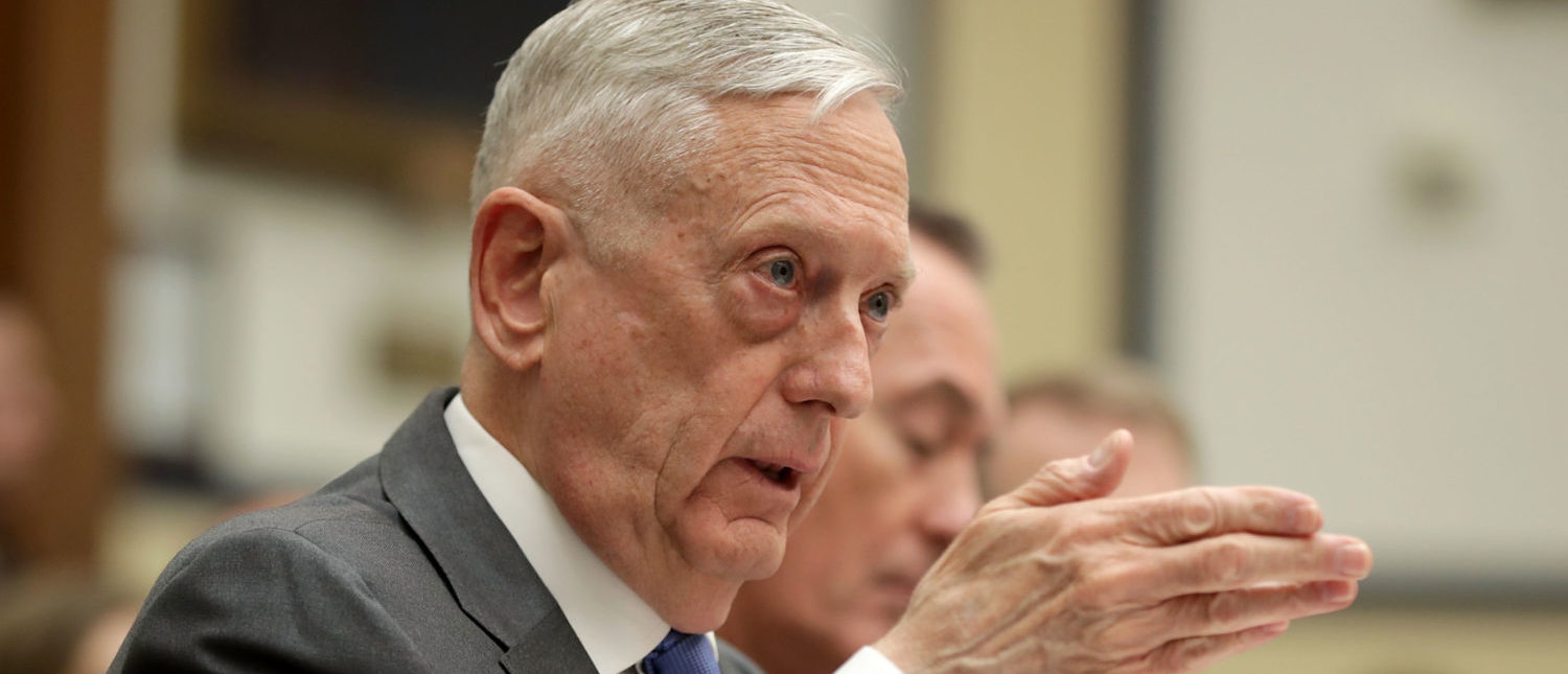 WASHINGTON, DC - APRIL 12: U.S. Defense Secretary James Mattis testifies before the House Armed Services Committee in the Rayburn House Office Building on Capitol Hill April 12, 2018 in Washington, DC. The Trump administration's top war-fighters, Mattis and Chairman of the Joint Chiefs of Staff Gen. Joseph Dunford faced questions about their FY2019 defense budget request, the possible military response to alleged chemical attacks in Syria and other subjects. (Photo by Chip Somodevilla/Getty Images)
