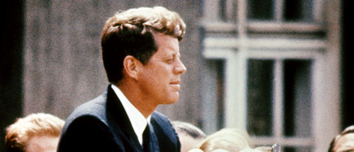 John Fitzgerald Kennedy (1917-63), pictured in the 1960s in the USA. 09 November 1960, he was the first Catholic, and the youngest person, to be elected for Democratic party the president of the USA. 22 November 1963, Kennedy was assassinated while being driven in an open car through Dallas. AFP/Getty Images