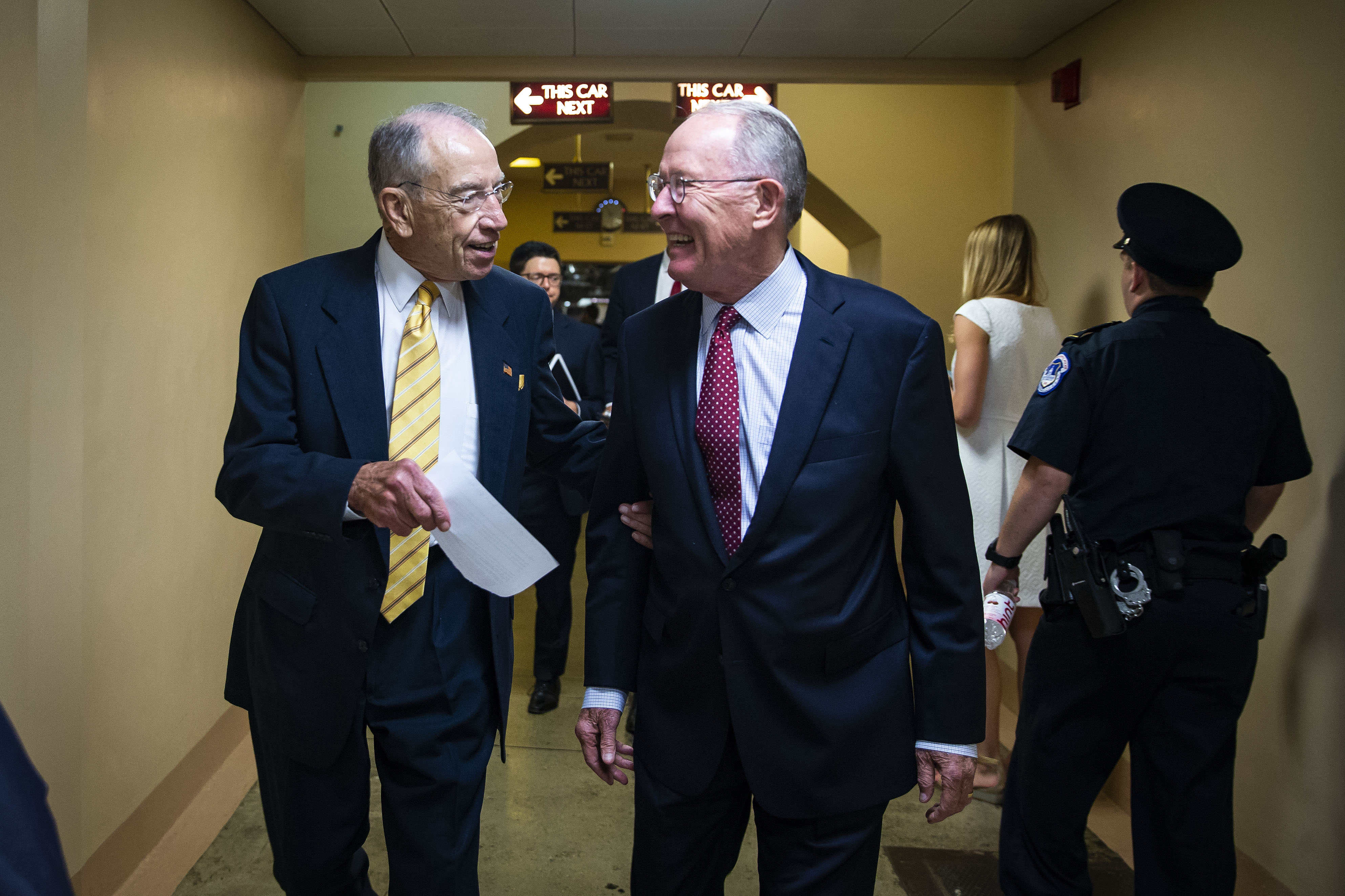 Sen. Chuck Grassley and Sen. Lamar Alexander confer as they depart the U.S. Capitol following a vote, on July 10, 2018 in Washington, DC. (Photo by Al Drago/Getty Images)