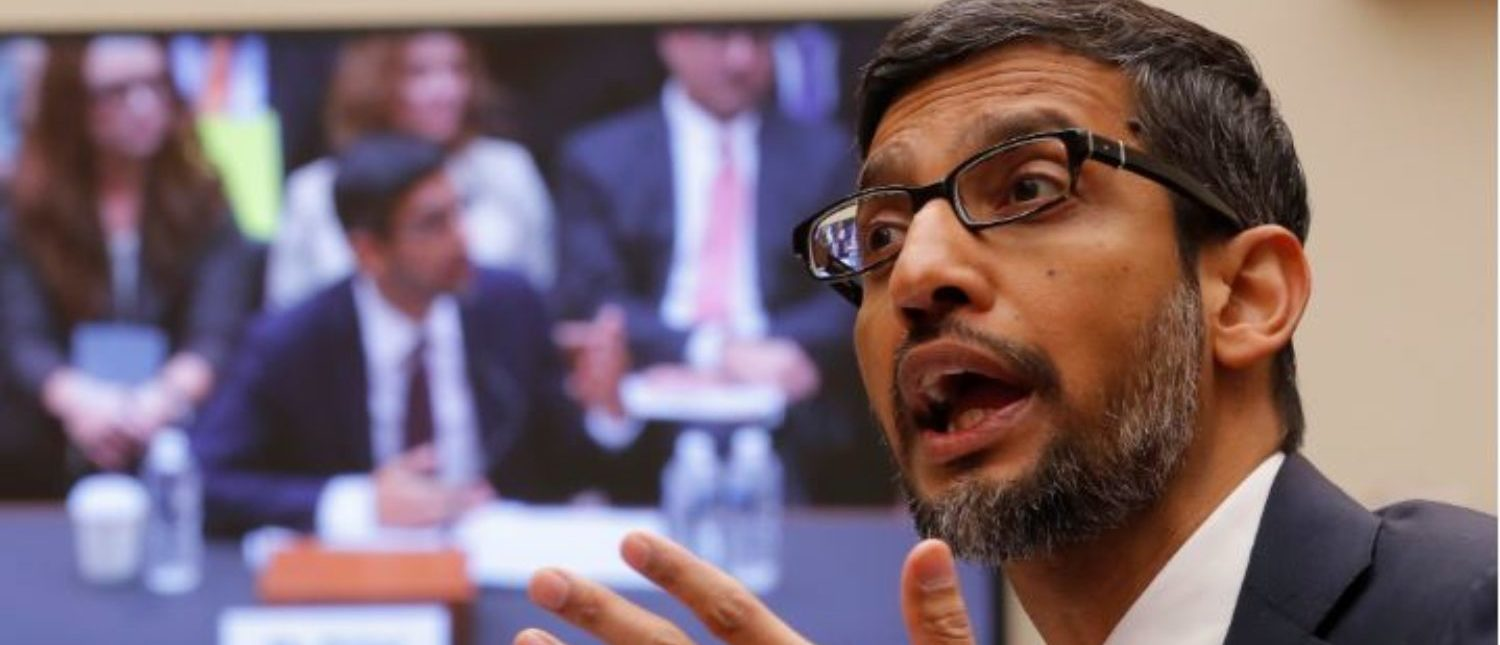 "Google CEO Sundar Pichai testifies at a House Judiciary Committee hearing ""examining Google and its Data Collection, Use and Filtering Practices"" on Capitol Hill in Washington, U.S., Dec. 11, 2018. (REUTERS/Jim Young)"