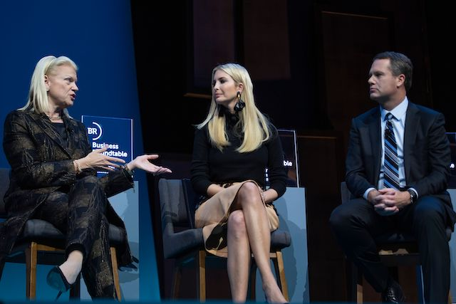IBM Corporation CEO Ginni Rometrty (L) speaks with Ivanka Trump (C) and Walmart CEO Doug McMillon (R) during the Business Roundtable CEO Innovation Summit in Washington, DC on December 6, 2018. (Photo credit: JIM WATSON/AFP/Getty Images)