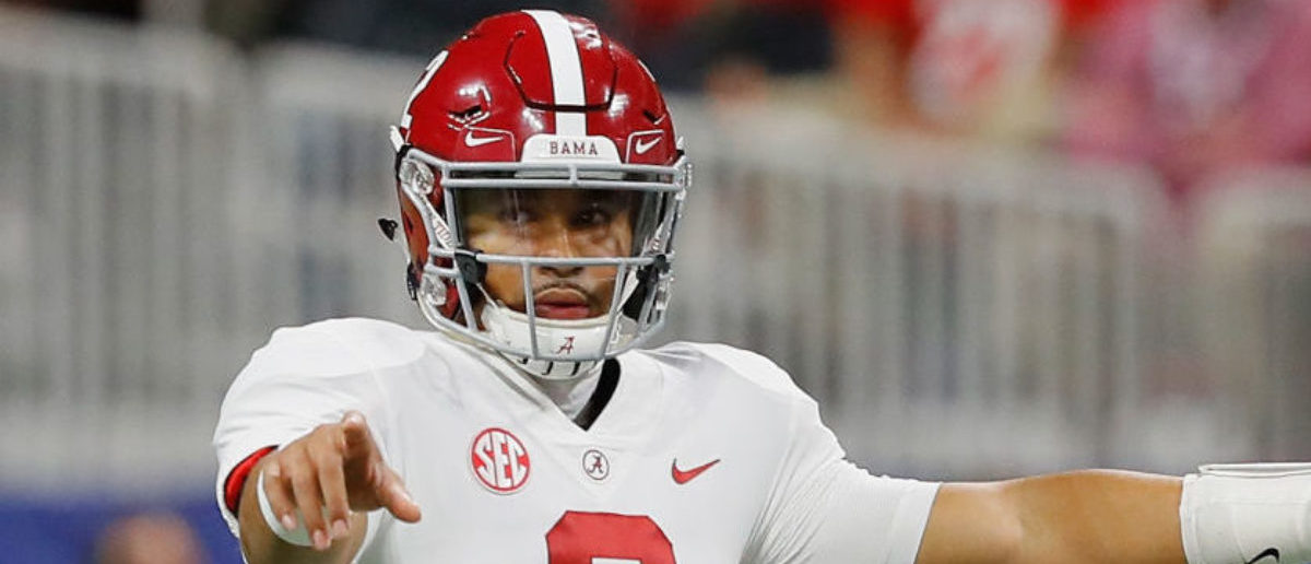ATLANTA, GA - DECEMBER 01: Jalen Hurts #2 of the Alabama Crimson Tide gestures at the line of scrimmage in the fourth quarter against the Georgia Bulldogs during the 2018 SEC Championship Game at Mercedes-Benz Stadium on December 1, 2018 in Atlanta, Georgia. (Photo by Kevin C. Cox/Getty Images)