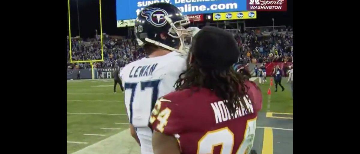 Josh Norman (Credit: Screenshot/Twitter Video https://twitter.com/NBCSRedskins/status/1076635823175553025)