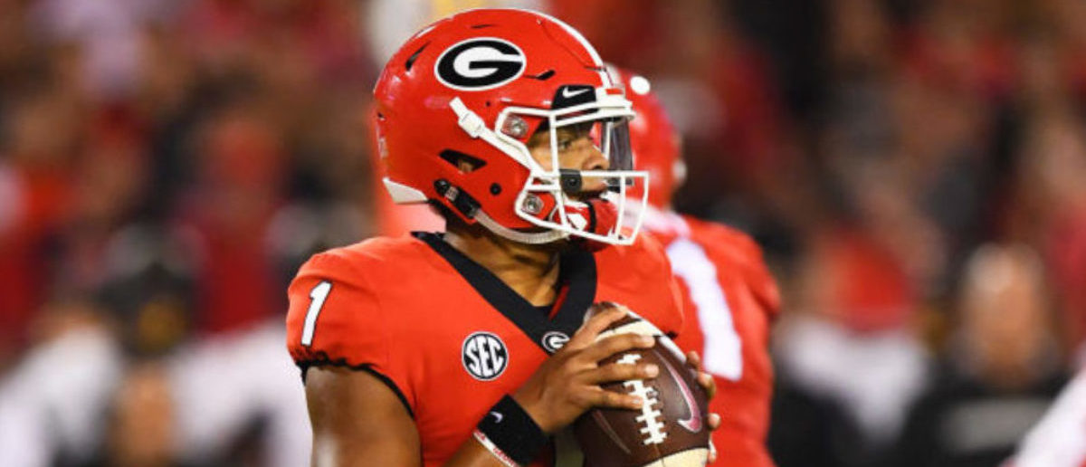 ATHENS, GA - OCTOBER 6: Justin Fields #1 of the Georgia Bulldogs drops back to pass against the Vanderbilt Commodores on October 6, 2018 at Sanford Stadium in Athens, Georgia. (Photo by Scott Cunningham/Getty Images)
