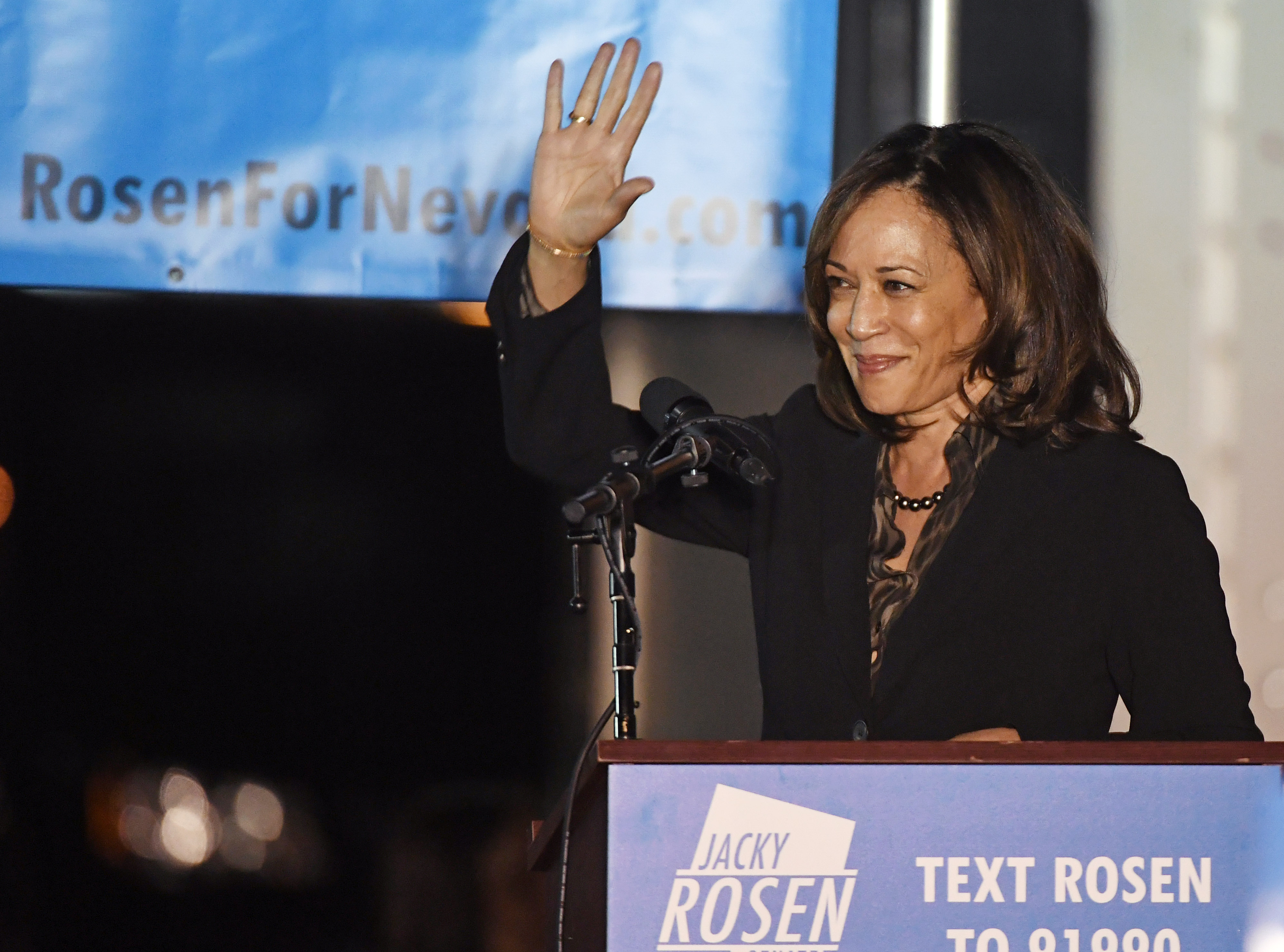 U.S. Sen. Kamala Harris speaks at a get-out-the-vote rally in support of Jacky Rosen at First Friday as Harris campaigns for Nevada Democratic candidates. (Ethan Miller/Getty Images)