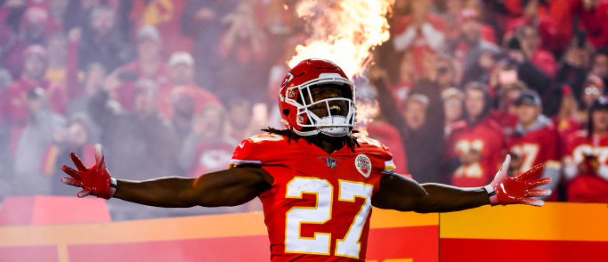 KANSAS CITY, MO - OCTOBER 21: Kareem Hunt #27 of the Kansas City Chiefs is introduced with a plume of fire prior to the game against the against the Cincinnati Bengals at Arrowhead Stadium on October 21, 2018 in Kansas City, Kansas. (Photo by Peter Aiken/Getty Images)