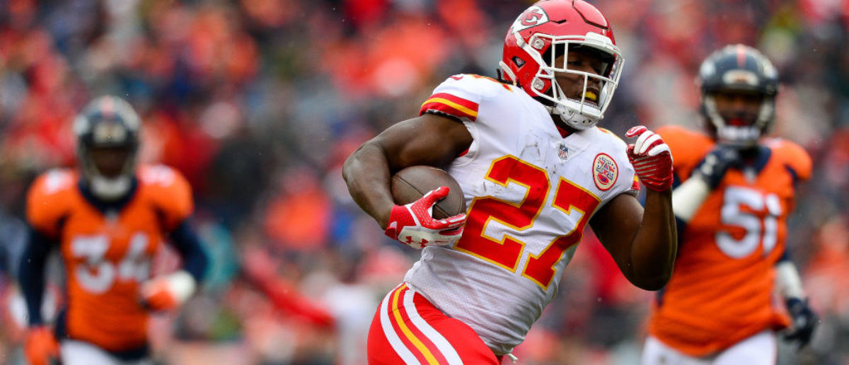 DENVER, CO - DECEMBER 31: Running back Kareem Hunt #27 of the Kansas City Chiefs breaks away for a first quarter touchdown run against the Denver Broncos at Sports Authority Field at Mile High on December 31, 2017 in Denver, Colorado. (Photo by Dustin Bradford/Getty Images)