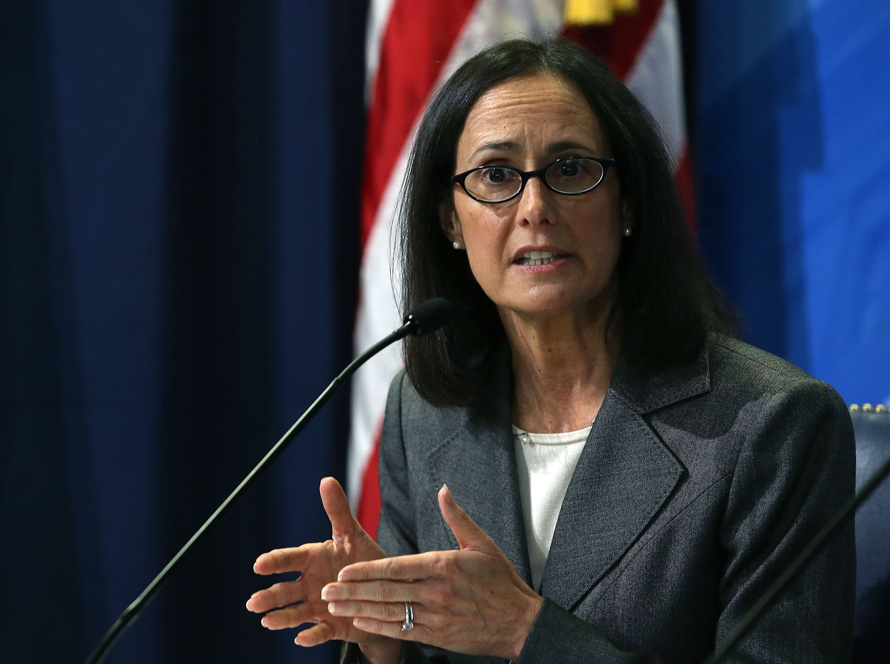 WASHINGTON, DC - NOVEMBER 04: Illinois Attorney General, Lisa Madigan speaks about a crackdown on deceptive and abusive debt collection practices during a news conference at the FTC headquarters November 4, 2015 in Washington, DC. (Photo by Mark Wilson/Getty Images)