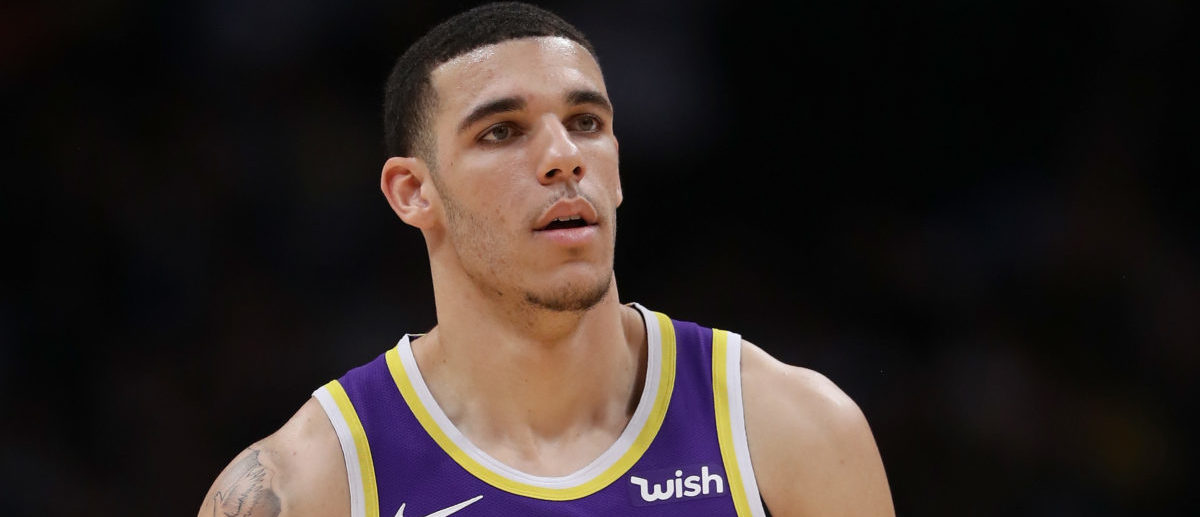 DENVER, CO - NOVEMBER 27: Lonzo Ball #2 of the Los Angeles Lakers plays the Denver Nuggets at the Pepsi Center on November 27, 2018 in Denver, Colorado. (Photo by Matthew Stockman/Getty Images)