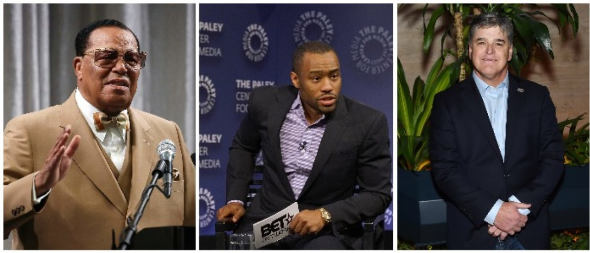 Louis Farrakhan, Marc Lamont Hill, and Sean Hannity (LEFT: Mark Wilson/Getty Images MIDDLE: Bennett Raglin/Getty Images for BET Networks RIGHT: Jamie McCarthy/Getty Images)
