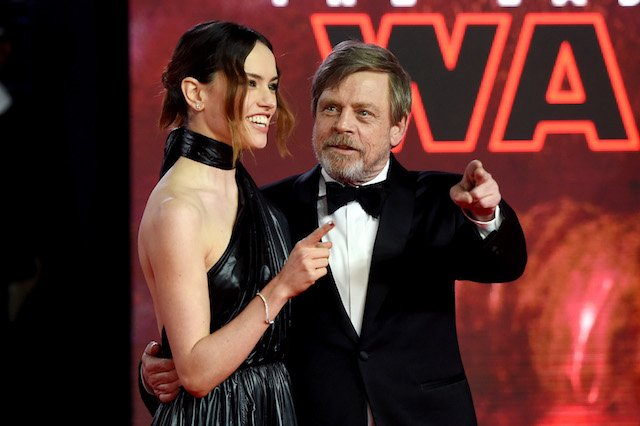 Actors Daisy Ridley and Mark Hamill attend the European Premiere of 'Star Wars: The Last Jedi' at Royal Albert Hall on December 12, 2017 in London, England. (Photo by Stuart C. Wilson/Getty Images)