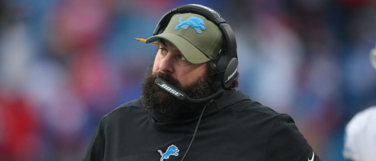 BUFFALO, NY - DECEMBER 16: Head coach Matt Patricia of the Detroit Lions looks on from the sideline during NFL game action against the Buffalo Bills at New Era Field on December 16, 2018 in Buffalo, New York. (Photo by Tom Szczerbowski/Getty Images)