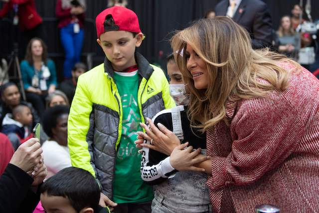 US First Lady Melania Trump visits children at Children's National Hospital in Washington, DC, on December 13, 2018. (Photo credit: JIM WATSON/AFP/Getty Images)