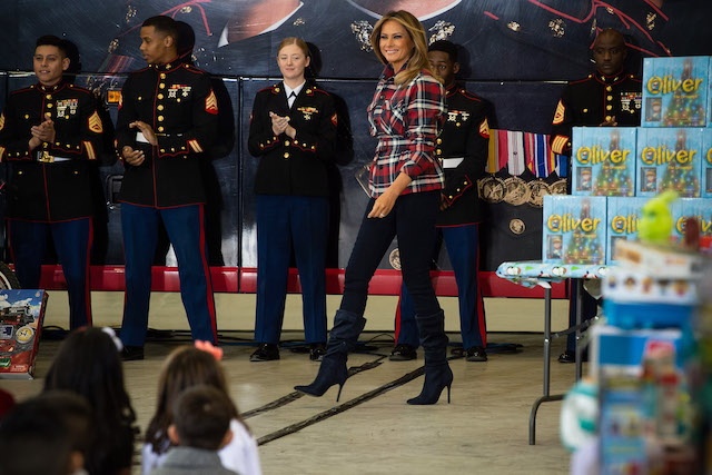 US First Lady Melania Trump attends a Toys for Tots event at Joint Base Anacostia-Bolling in Washington, DC, on December 11, 2018. - Toys for Tots is a program run by the United States Marine Corps Reserve which distributes toys to children whose parents cannot afford to buy them gifts for Christmas. (Photo credit: NICHOLAS KAMM/AFP/Getty Images)