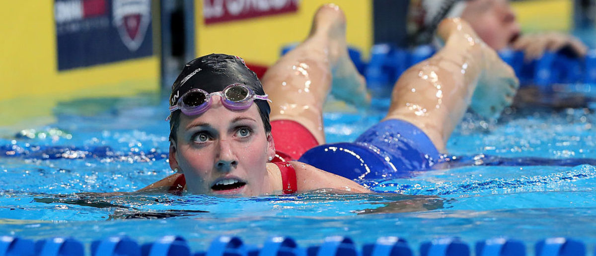 OMAHA, NE - JULY 01: Missy Franklin of the United States reacts after competing in a heat for the Women's 200 Meter Backstroke during Day Six of the 2016 U.S. Olympic Team Swimming Trials at CenturyLink Center on July 1, 2016 in Omaha, Nebraska. (Photo by Tom Pennington/Getty Images)