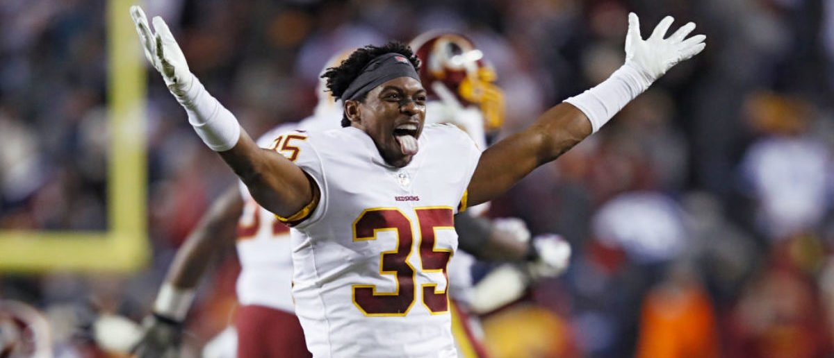 LANDOVER, MD - OCTOBER 21: Montae Nicholson #35 of the Washington Redskins reacts after a missed field goal by the Dallas Cowboys as time expired in the game at FedExField on October 21, 2018 in Landover, Maryland. The Redskins won 20-17. (Photo by Joe Robbins/Getty Images)