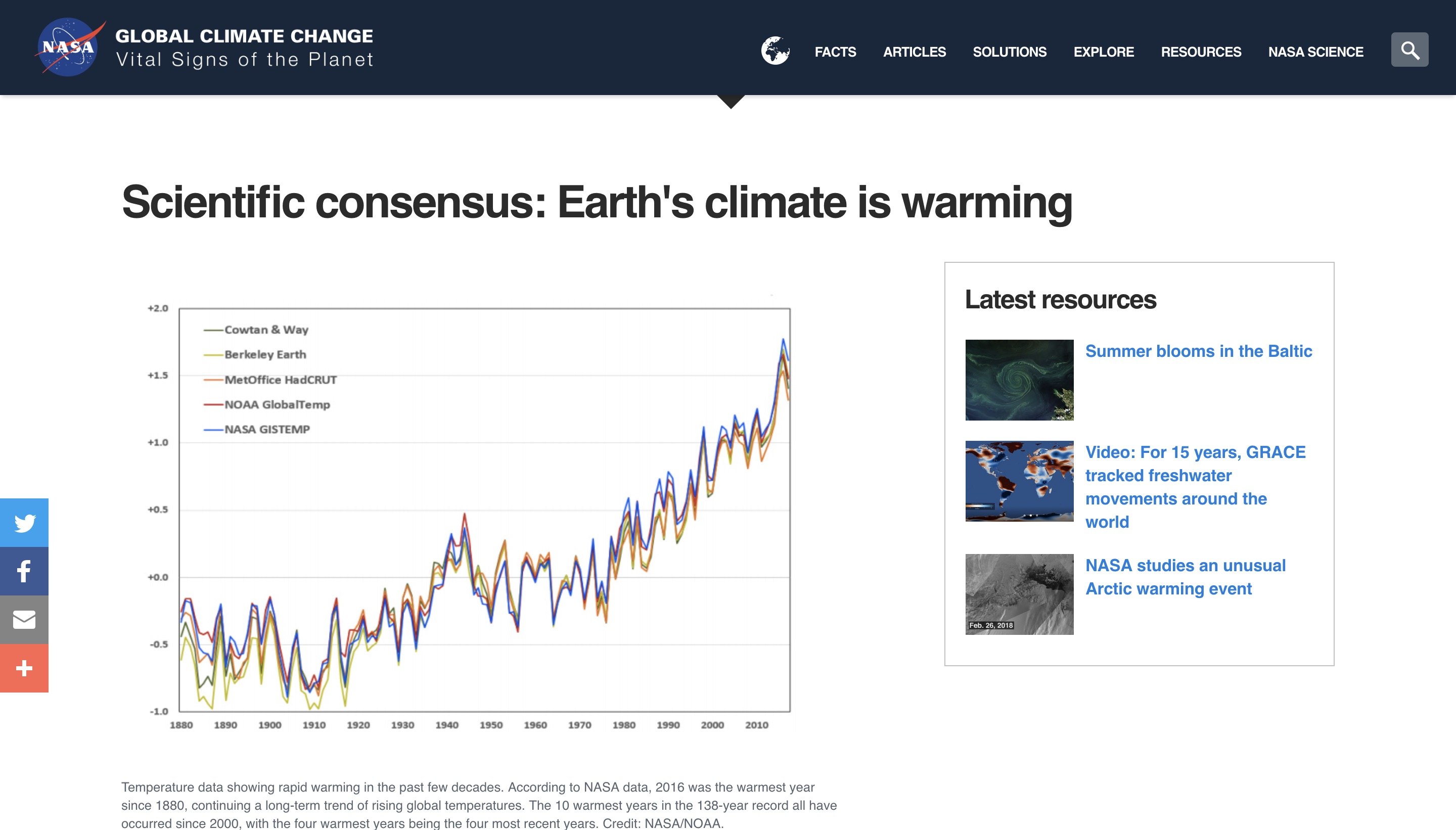 "NASA website on the ""consensus"" of human-driven climate change. (NASA/Screenshot)"