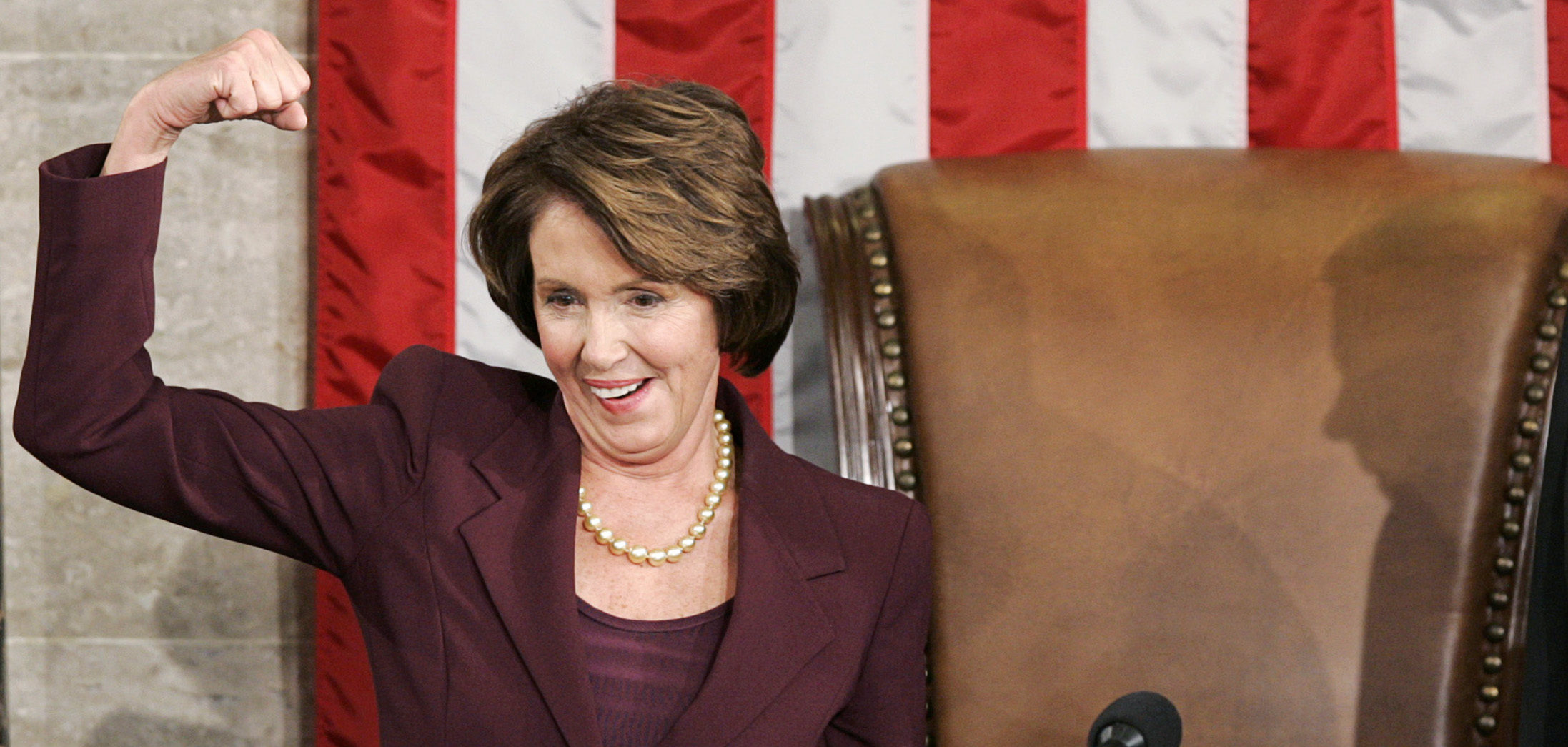 U.S. Speaker of the House Nancy Pelosi (D-CA) reacts as she takes the podium for the first time after she was elected the first ever female Speaker of the U.S. House of Representatives on the first day of the 110th Congress in Washington January 4, 2007. REUTERS/Larry Downing