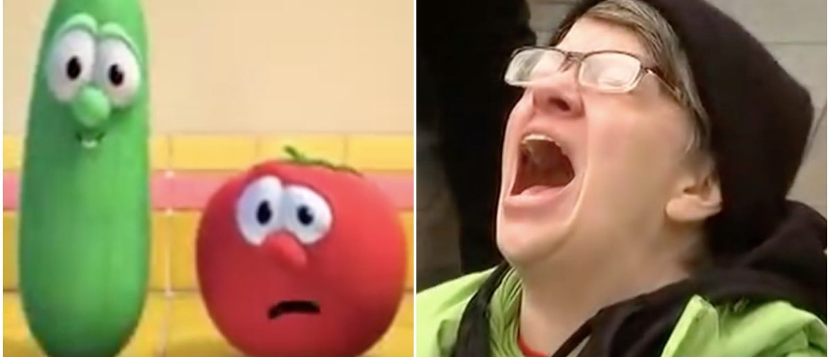VeggieTales and screaming protester (YouTube screenshots)