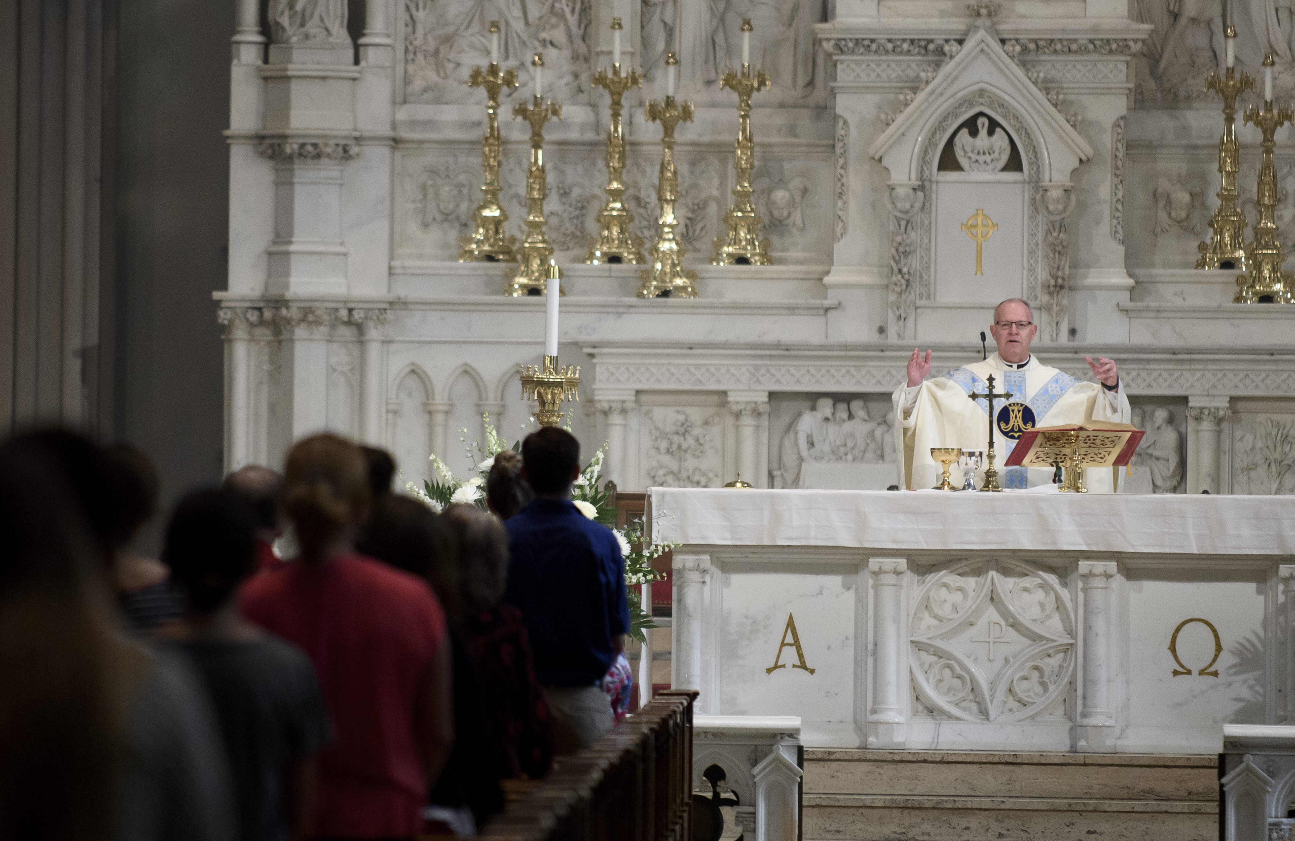 PITTSBURGH, PA - AUGUST 15: Father Kris Stubna speaks to parishioners during a mass to celebrate the Assumption of the Blessed Virgin Mary at St Paul Cathedral, the mother church of the Pittsburgh Diocese on August 15, 2018 in Pittsburgh, Pennsylvania. The Pittsburgh Diocese was rocked by revelations of abuse by priests the day before on August 14, 2018.(Photo by Jeff Swensen/Getty Images)