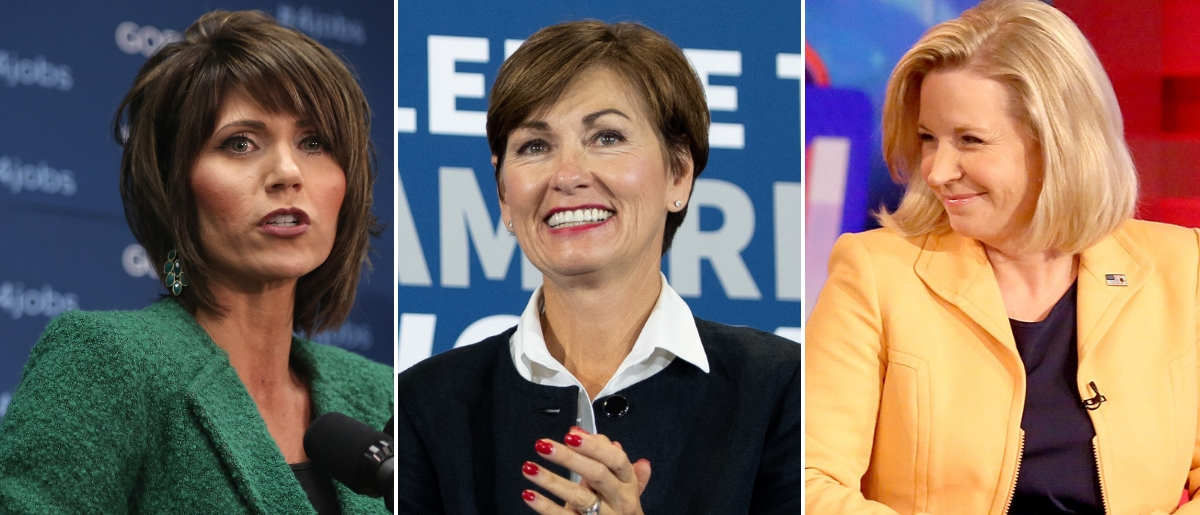 South Dakota Gov.-elect Kristi Noem, Iowa Gov. Kim Reynolds and Wyoming Rep. Liz Cheney are all Republican women to watch in 2019. Photo by Alex Wong/Getty Images, SAUL LOEB/AFP/Getty Images and Paul Zimmerman/Getty Images