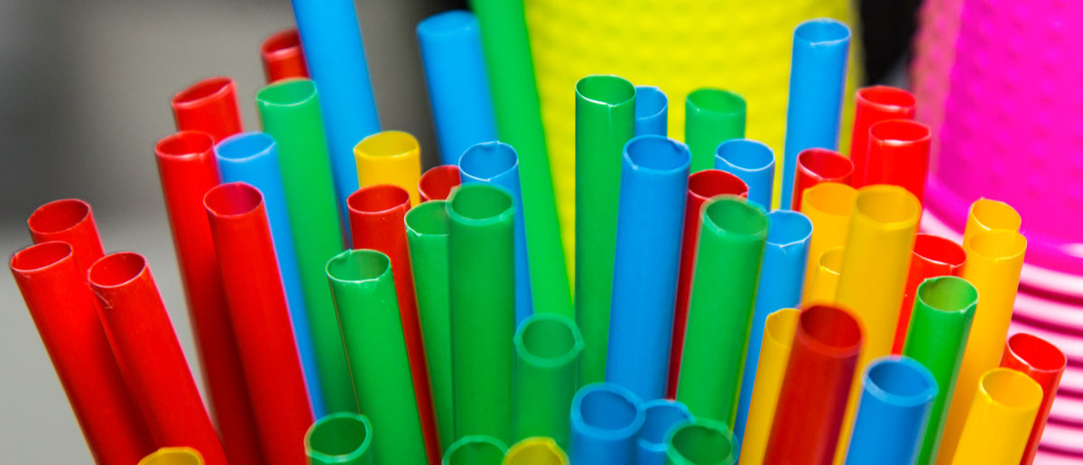 Close-up of colorful plastic straws. (Shutterstock/Maksymilian Chalupko)