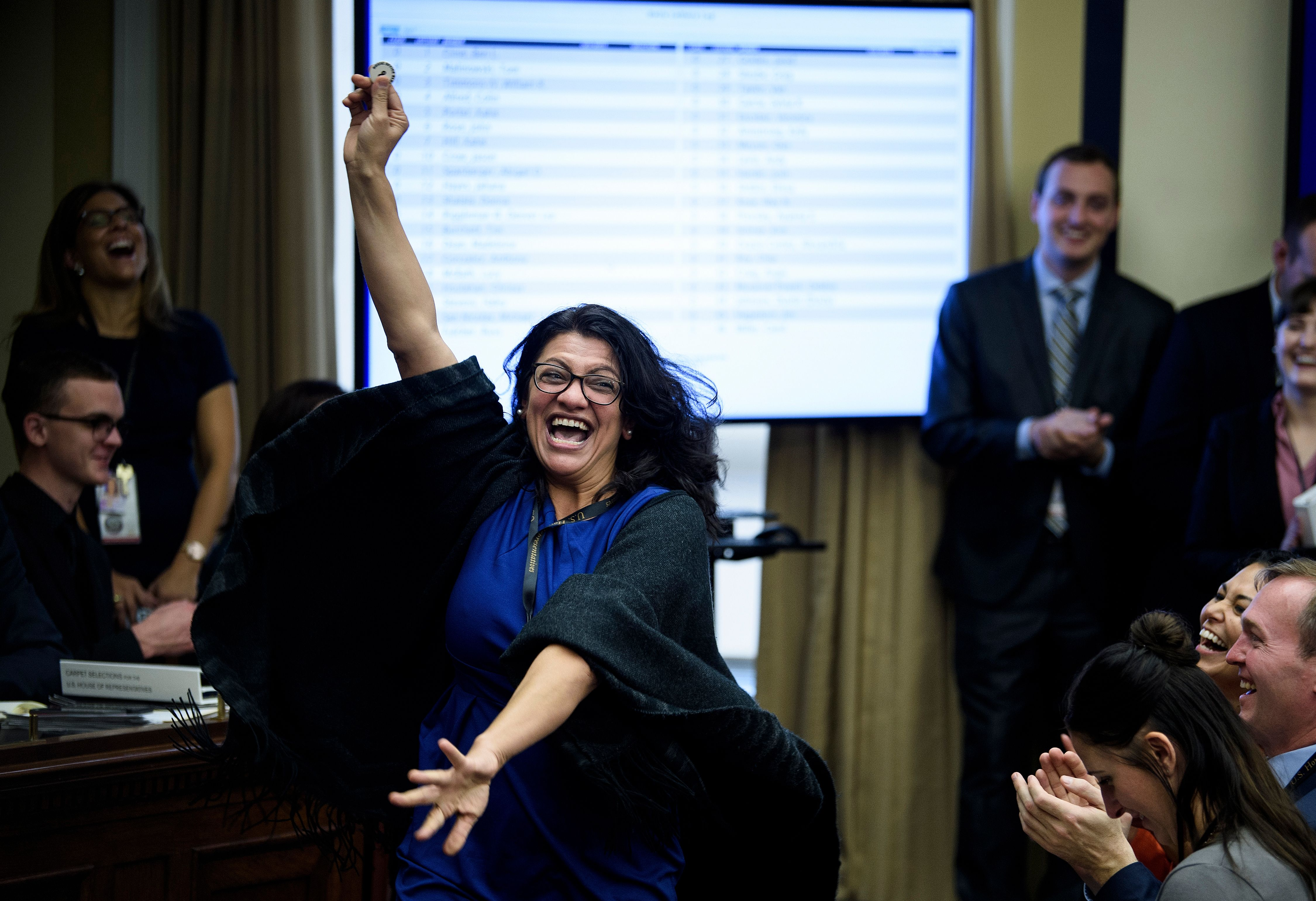 US Representative-elect Rashida Tlaib (D-MI) reacts to a good number during an office lottery for new members of Congress on Capitol Hill November 30, 2018 in Washington, DC. (Brendan Smialowski / AFP / Getty Images)