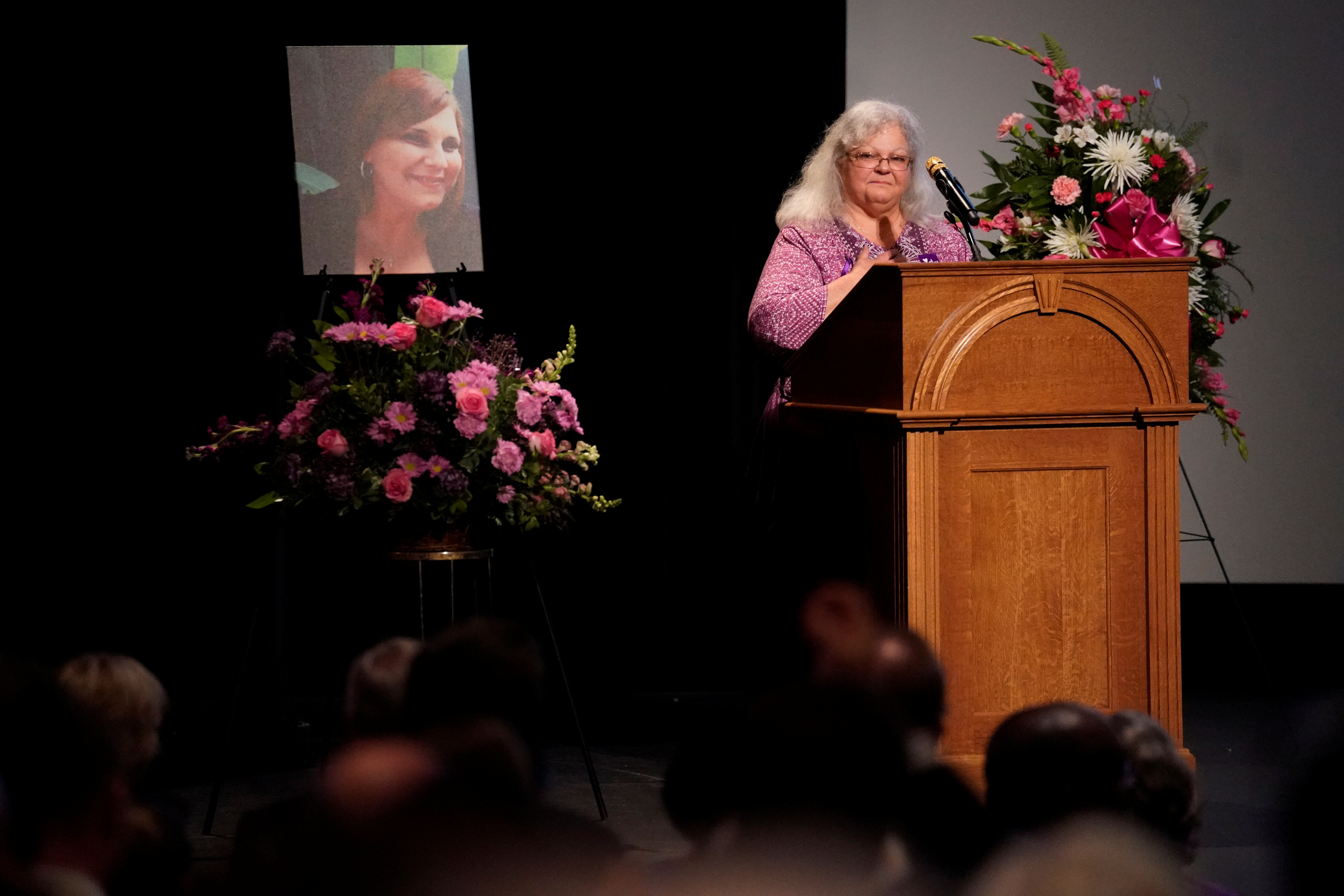 Car attack victim Heather Heyer's mother Susan Bro receives a standing ovation during her remarks at a memorial service for her daughter at the Paramount Theater in Charlottesville, Virginia, U.S. August 16, 2017. REUTERS/Jonathan Ernst