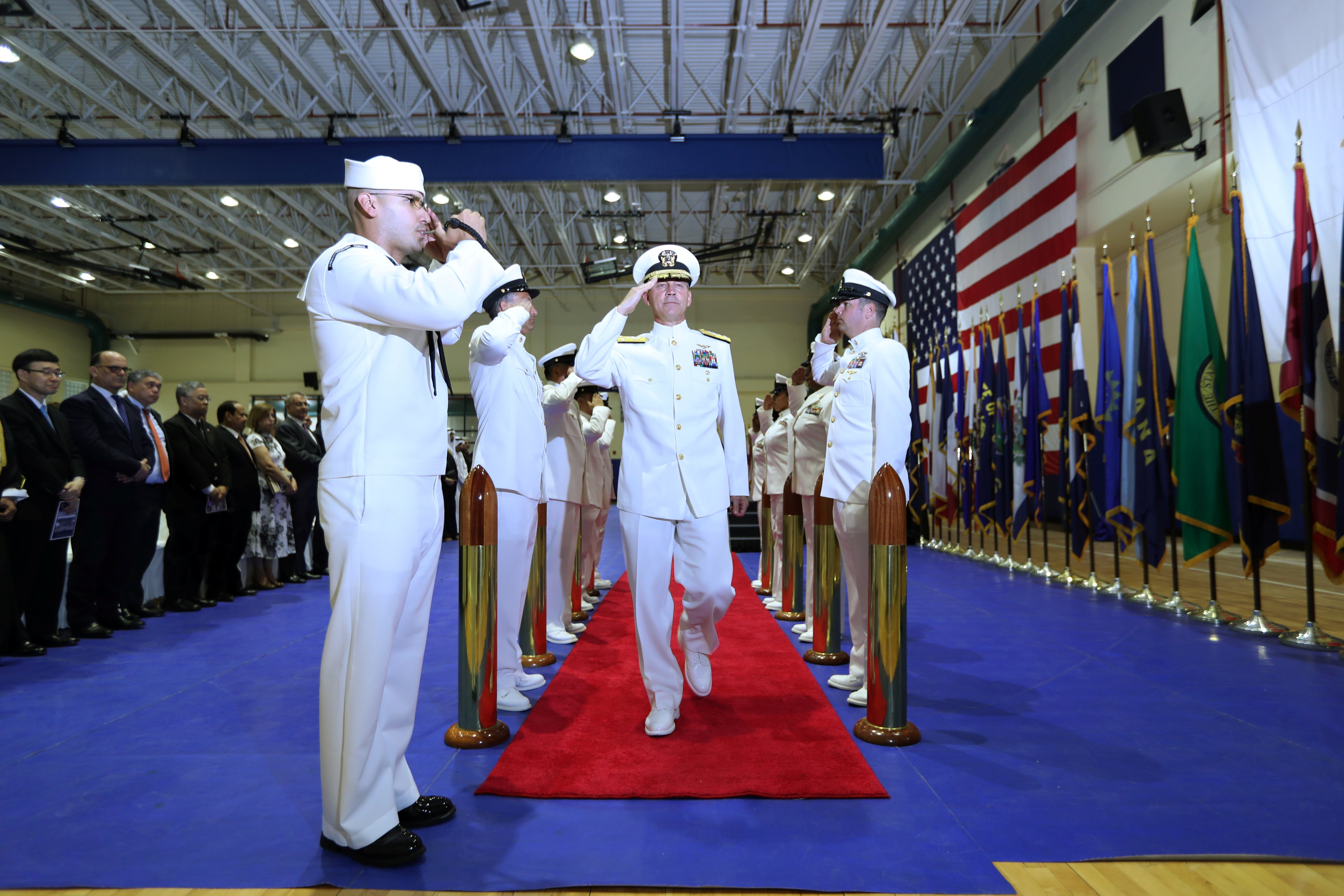 U.S. Navy vice admiral Scott A. Stearney, Commander of 5th Fleet and head of Naval Forces Central Command is welcomed during the Change of Command U.S. Naval Forces Central Command 5th Fleet Combined Maritime Forces ceremony at the U.S. Naval Base in Bahrain, May 6, 2018. REUTERS/Hamad I Mohammed