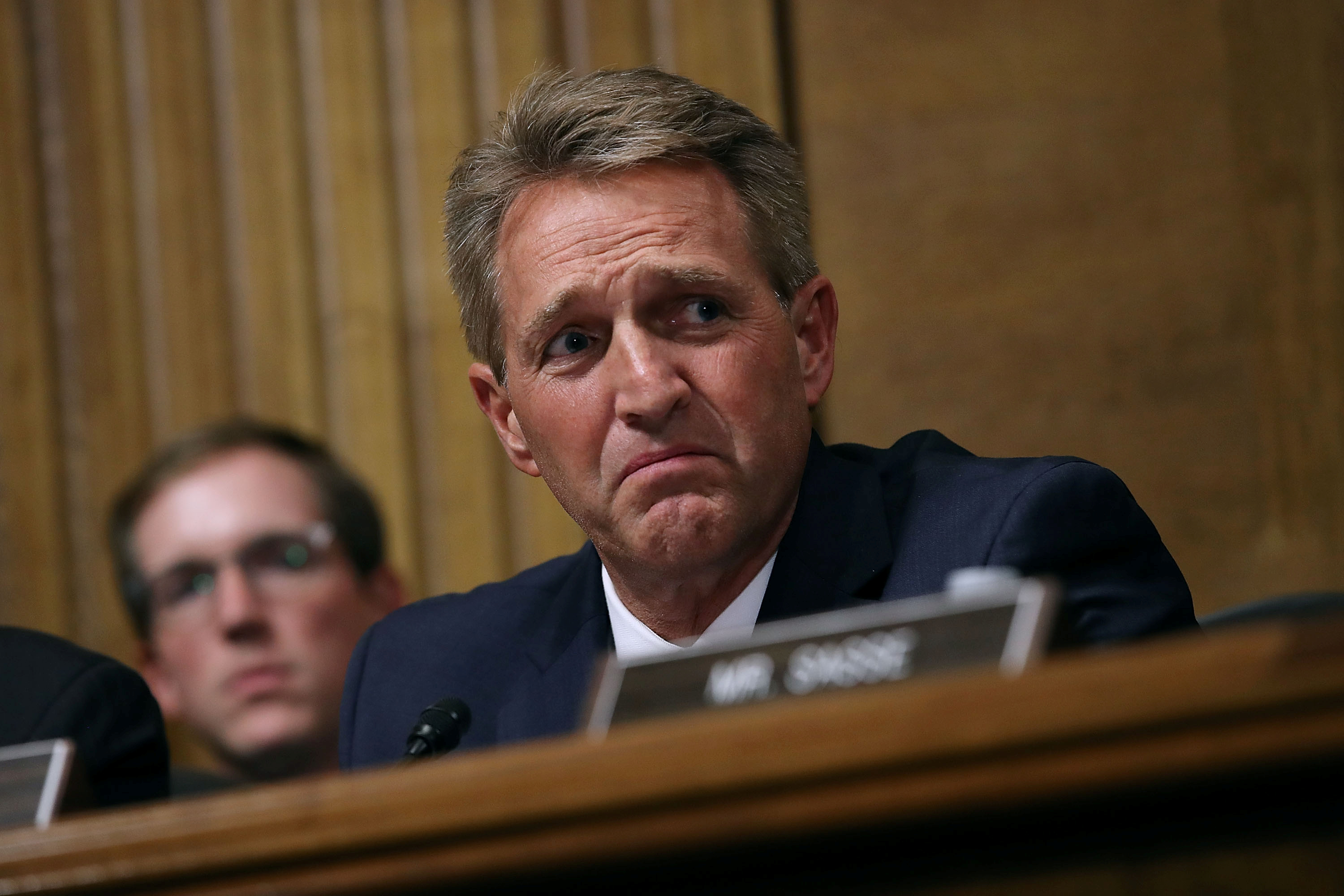 Senate Judiciary Committee member Sen. Jeff Flake (R-AZ) questions Judge Brett Kavanaugh during his Supreme Court confirmation hearing in the Dirksen Senate Office Building on Capitol Hill in Washington