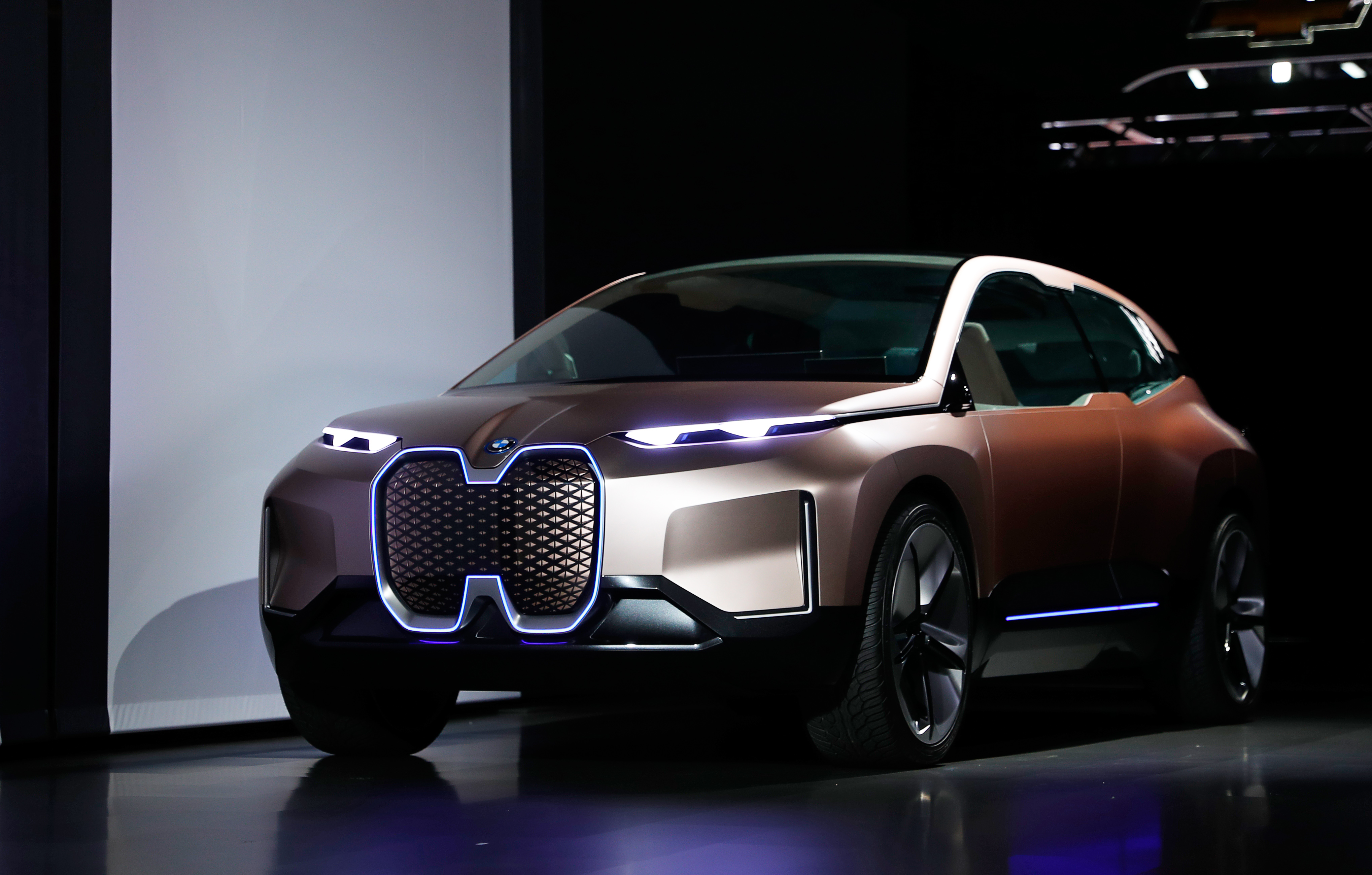 The BMW iNEXT electric autonomous concept car is introduced during a BMW press conference at the Los Angeles Auto Show in Los Angeles