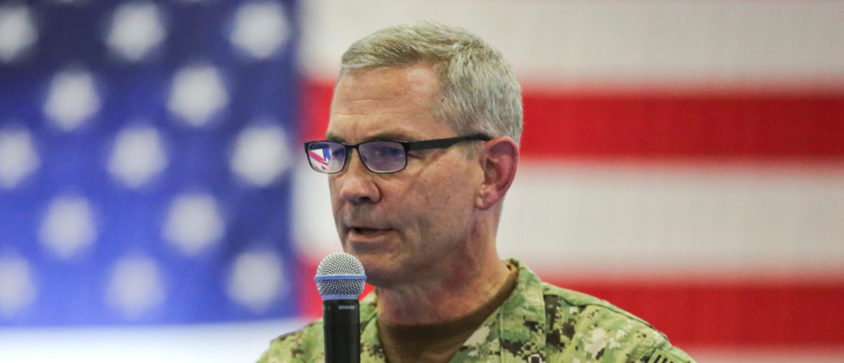 U.S. Navy Vice Adm. Scott A. Stearney, commander of U.S. Naval Forces Central Command/U.S. 5th Fleet/Combined Maritime Forces, delivers remarks during the Naval Amphibious Force, Task Force 51/5th Marine Expeditionary Brigade change of command ceremony in Manama, Bahrain July 3, 2018. U.S. Marine Corps/Sgt. Wesley Timm/Handout via REUTERS.
