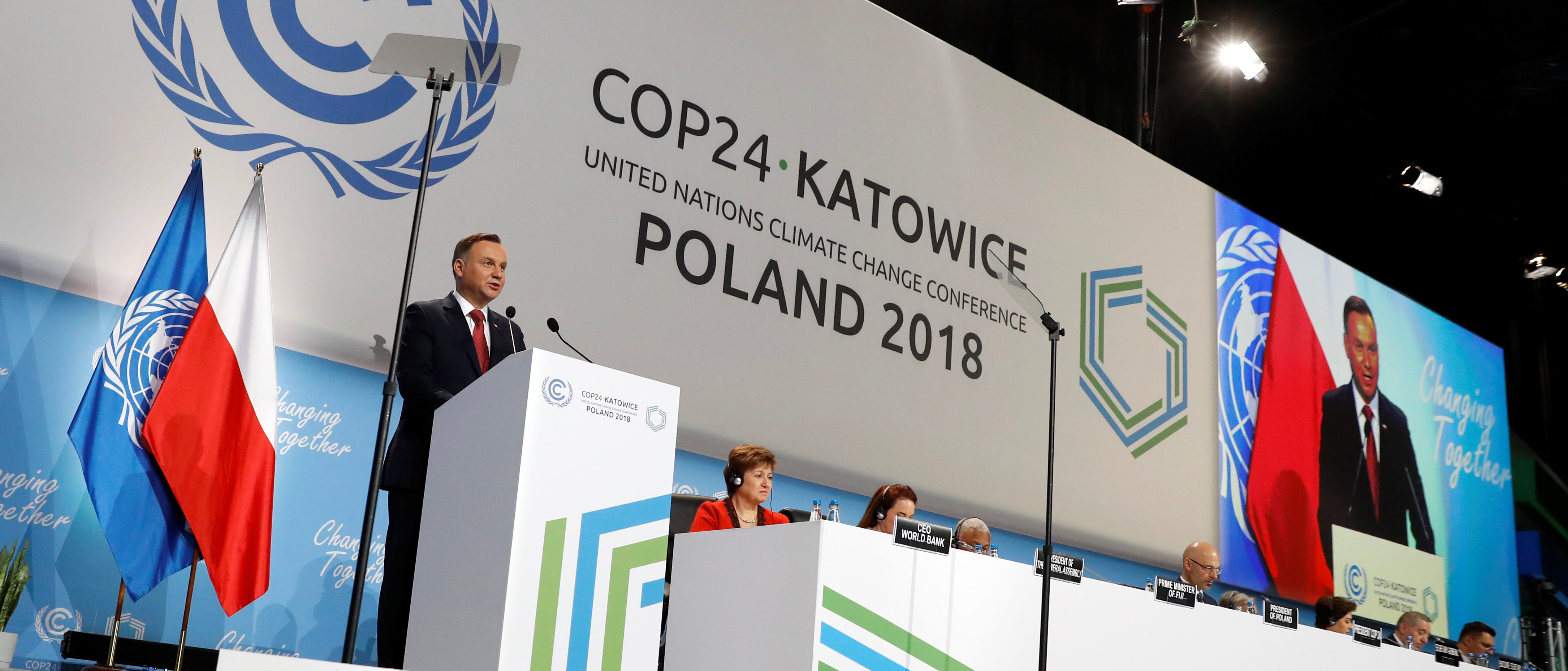 Polish President Andrzej Duda addresses during the opening of COP24 UN Climate Change Conference 2018 in Katowice, Poland December 3, 2018. REUTERS/Kacper Pempel.
