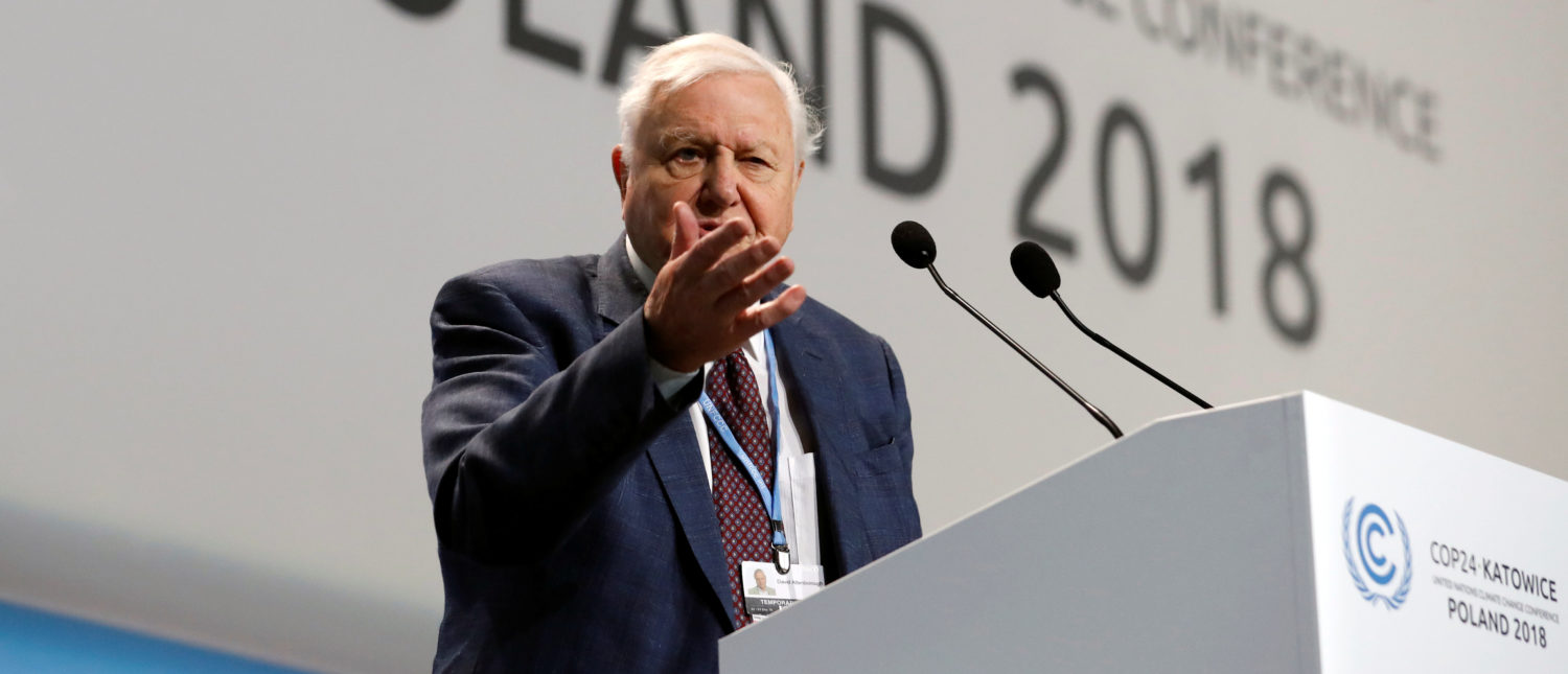 World renowned naturalist Sir David Attenborough delivers the Peoples Seat address during the opening of COP24 UN Climate Change Conference 2018 in Katowice, Poland December 3, 2018. REUTERS/Kacper Pempel.