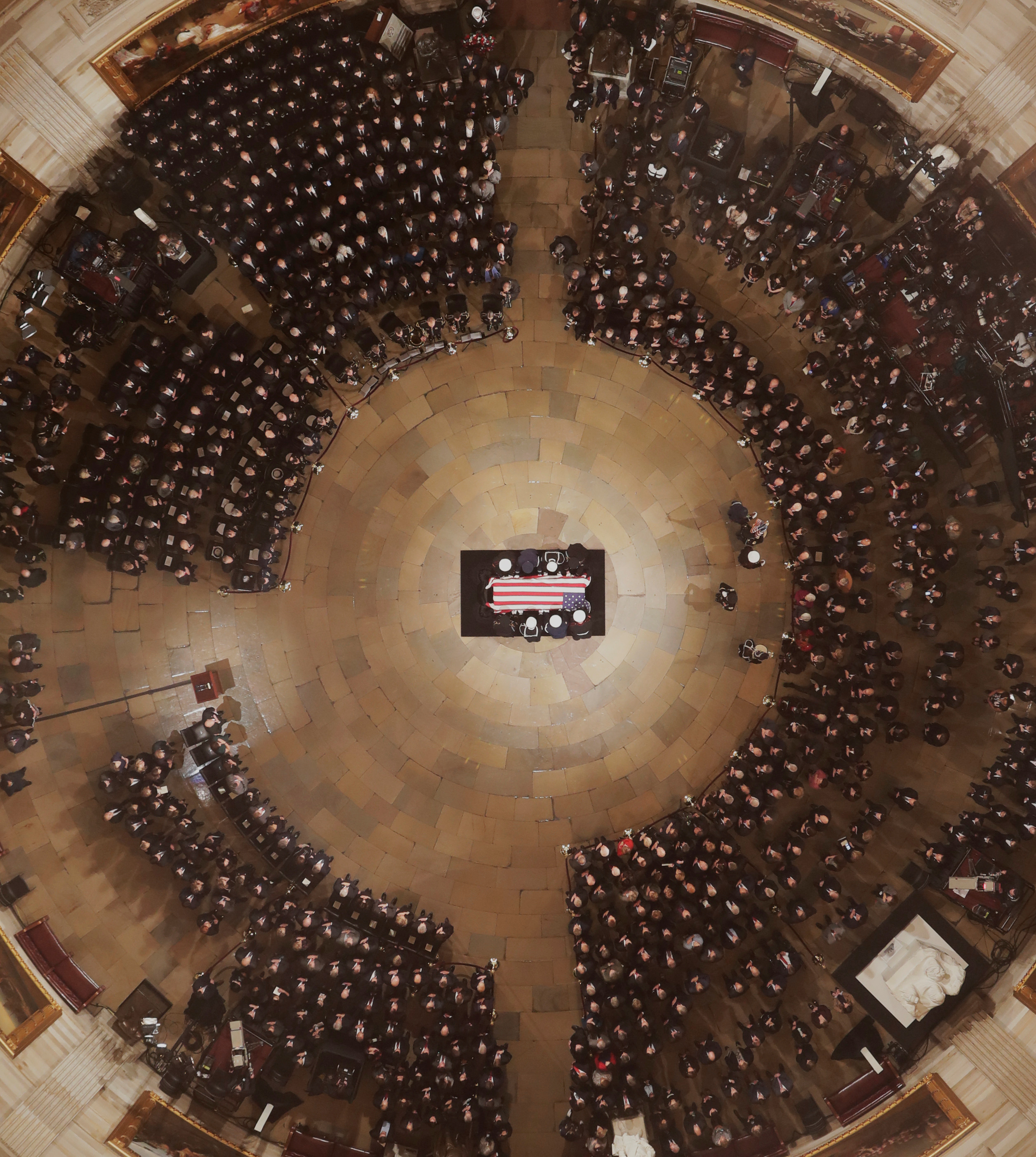 Pallbearers carry the casket of Former President George H. W. Bush into the U.S. Capitol Rotunda Monday, Dec. 3, 2018, in Washington. (Morry Gash/Pool via REUTERS)