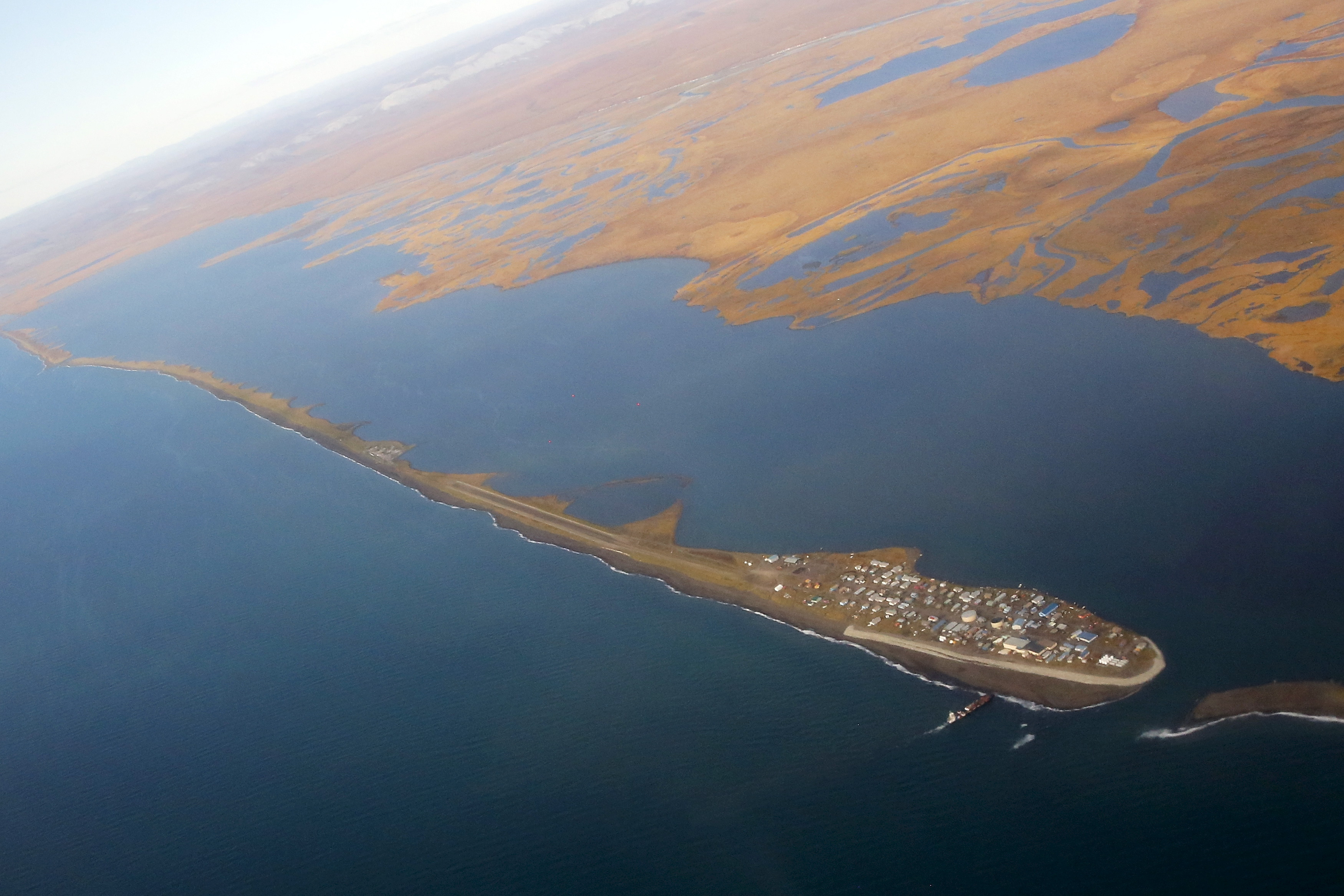 The island village of Kivalina can be seen from Air Force One as Obama flies to Kotzebue
